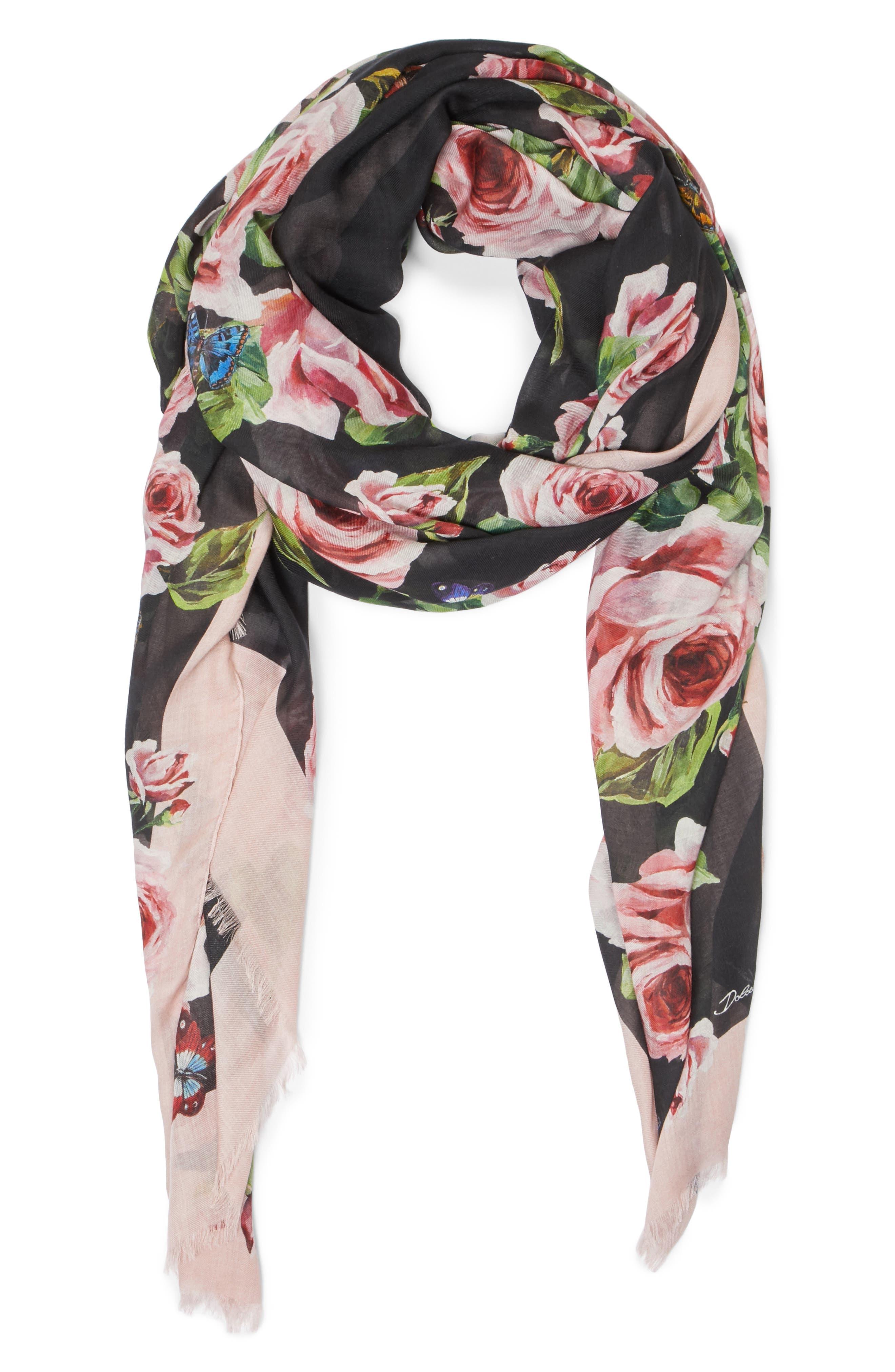 Alternate Image 2  - Dolce&Gabbana Rose Print Modal & Cashmere Scarf