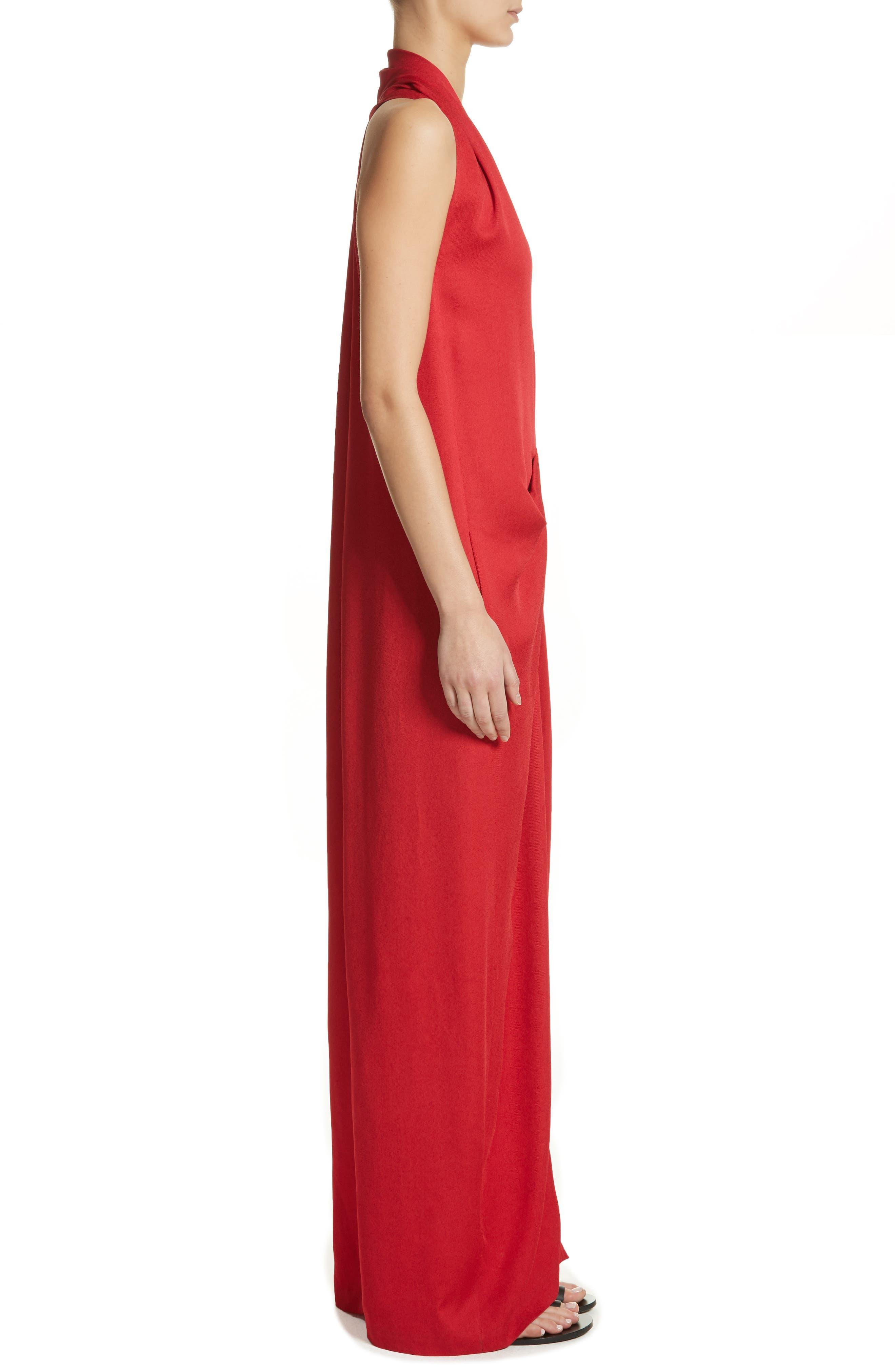 Eco Gathered Maxi Dress,                             Alternate thumbnail 3, color,                             Poppy