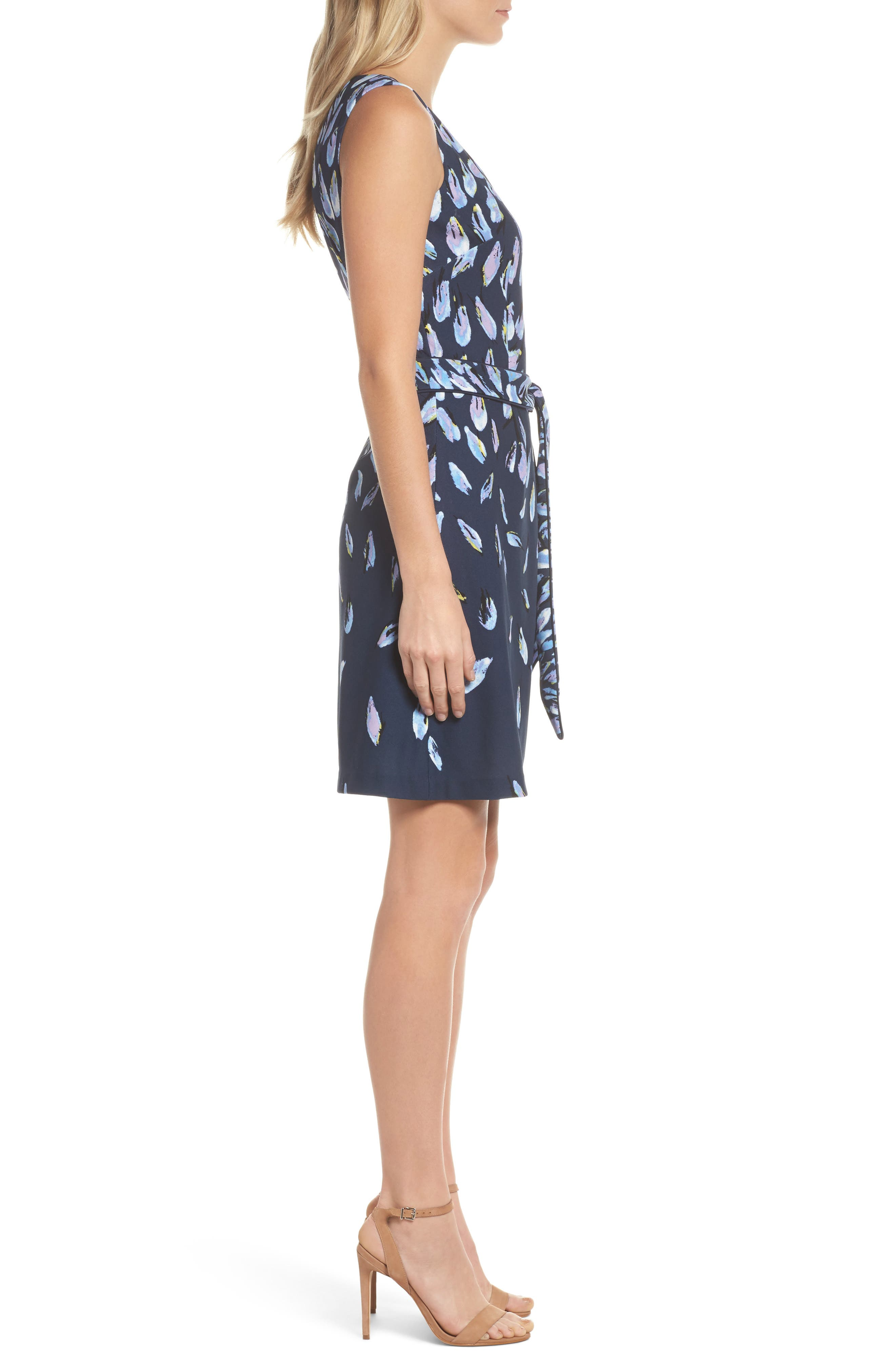 Print Fit & Flare Dress,                             Alternate thumbnail 3, color,                             Navy Multi