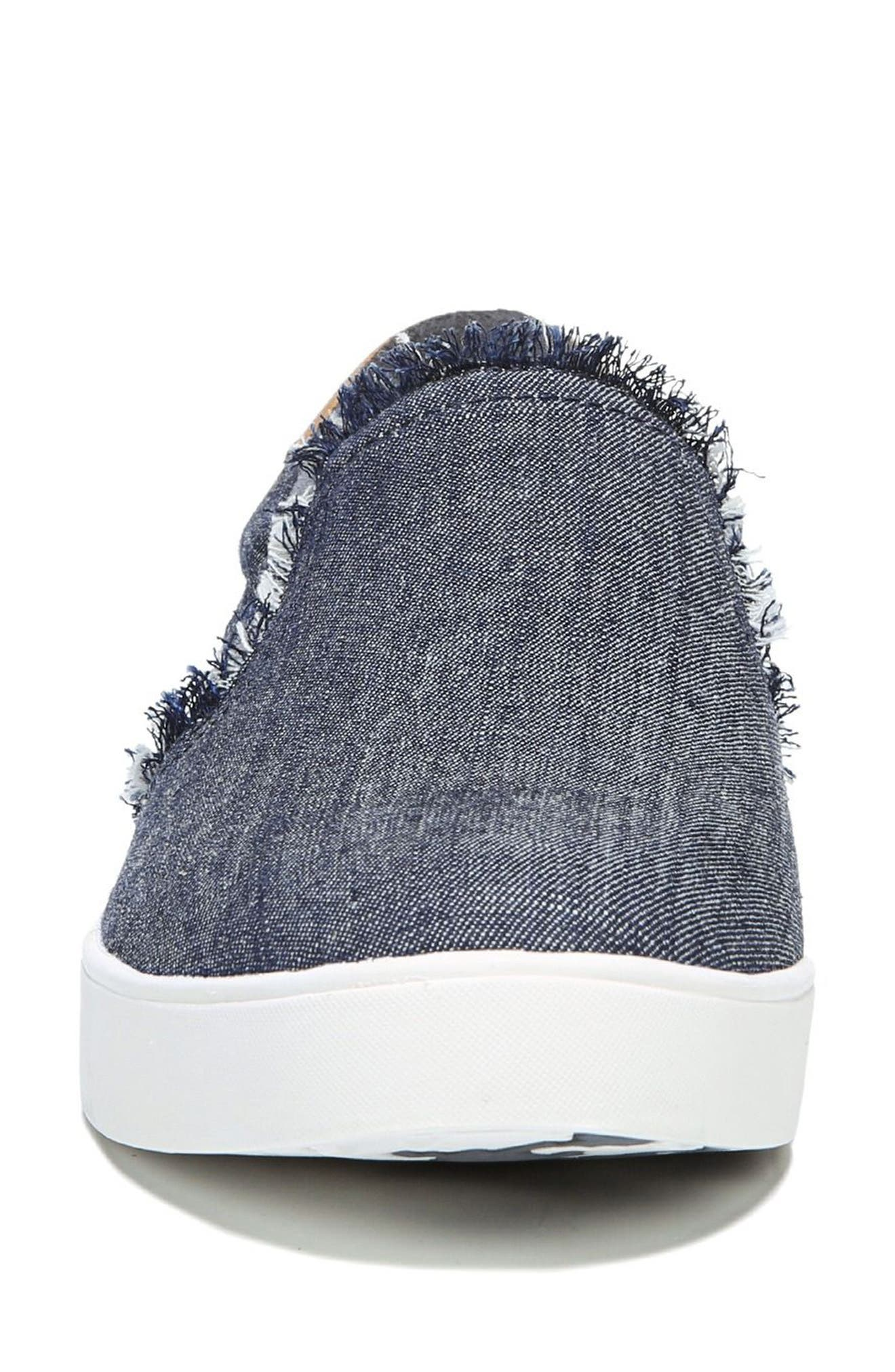 Scout Fray Slip-on Sneaker,                             Alternate thumbnail 4, color,                             Denim Fabric