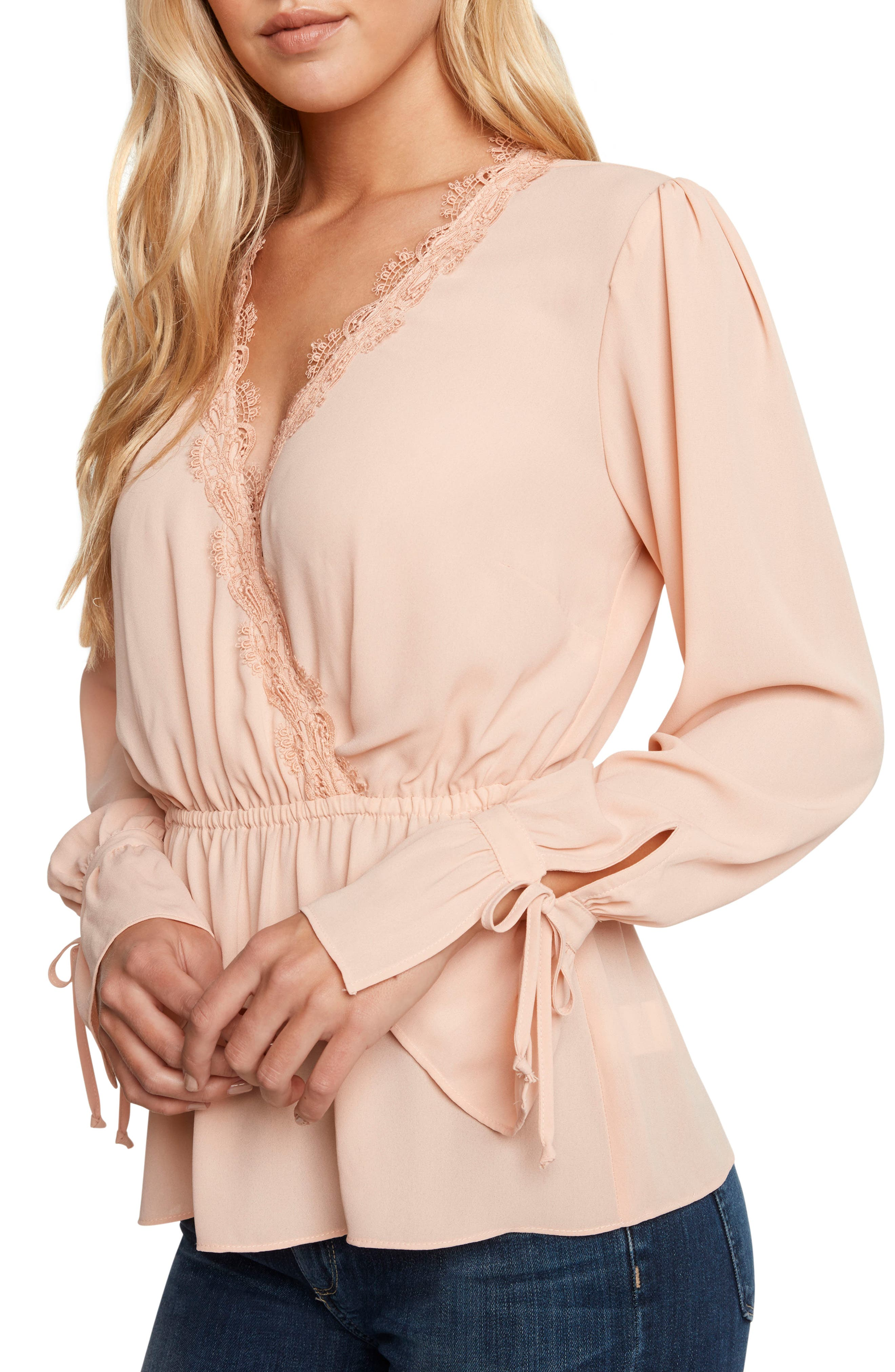 0c18c03a94209 Willow   Clay Georgette Faux Wrap Top In Blush