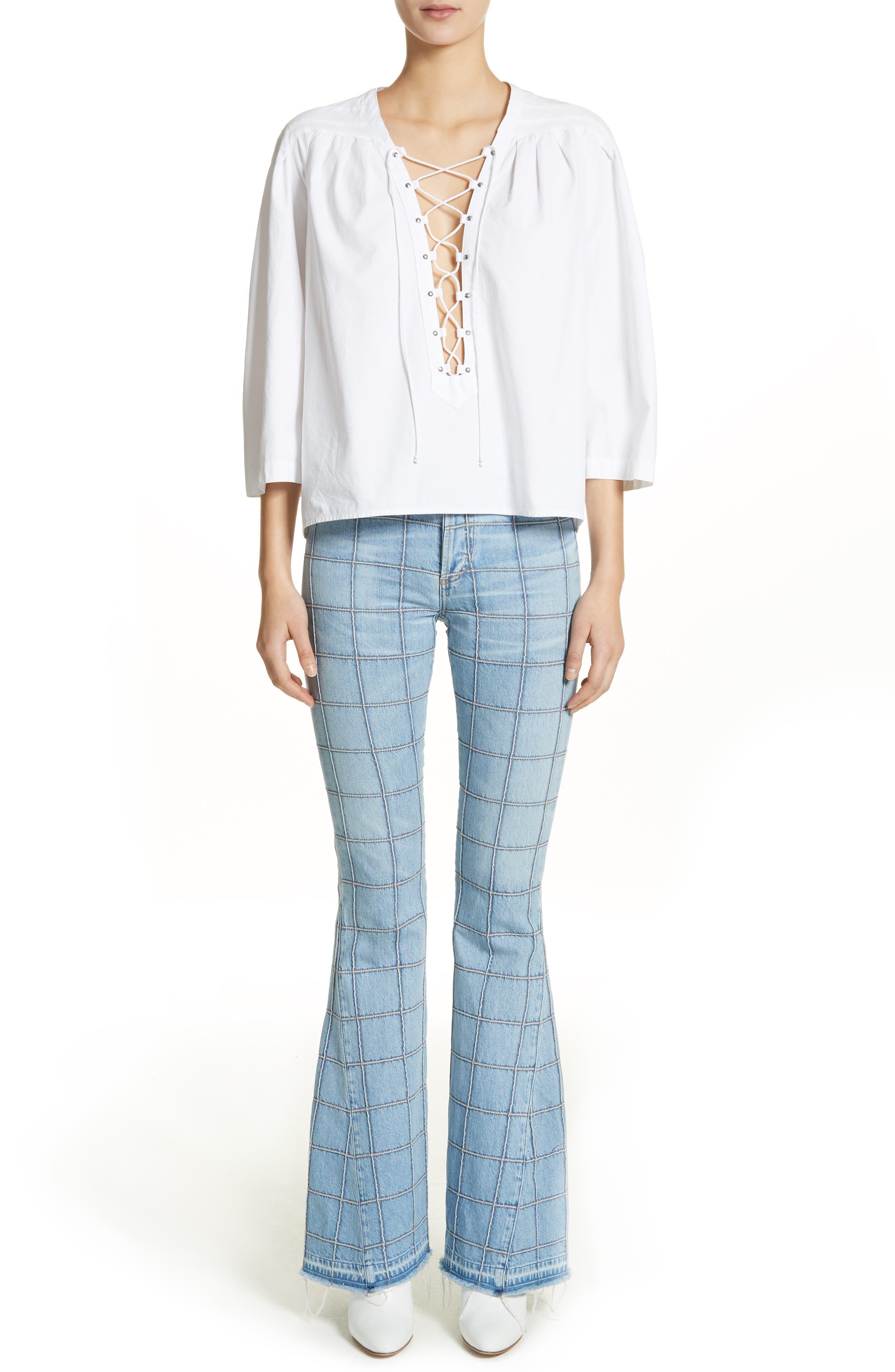 Ilona Lace-Up Cotton Top,                             Alternate thumbnail 8, color,                             White