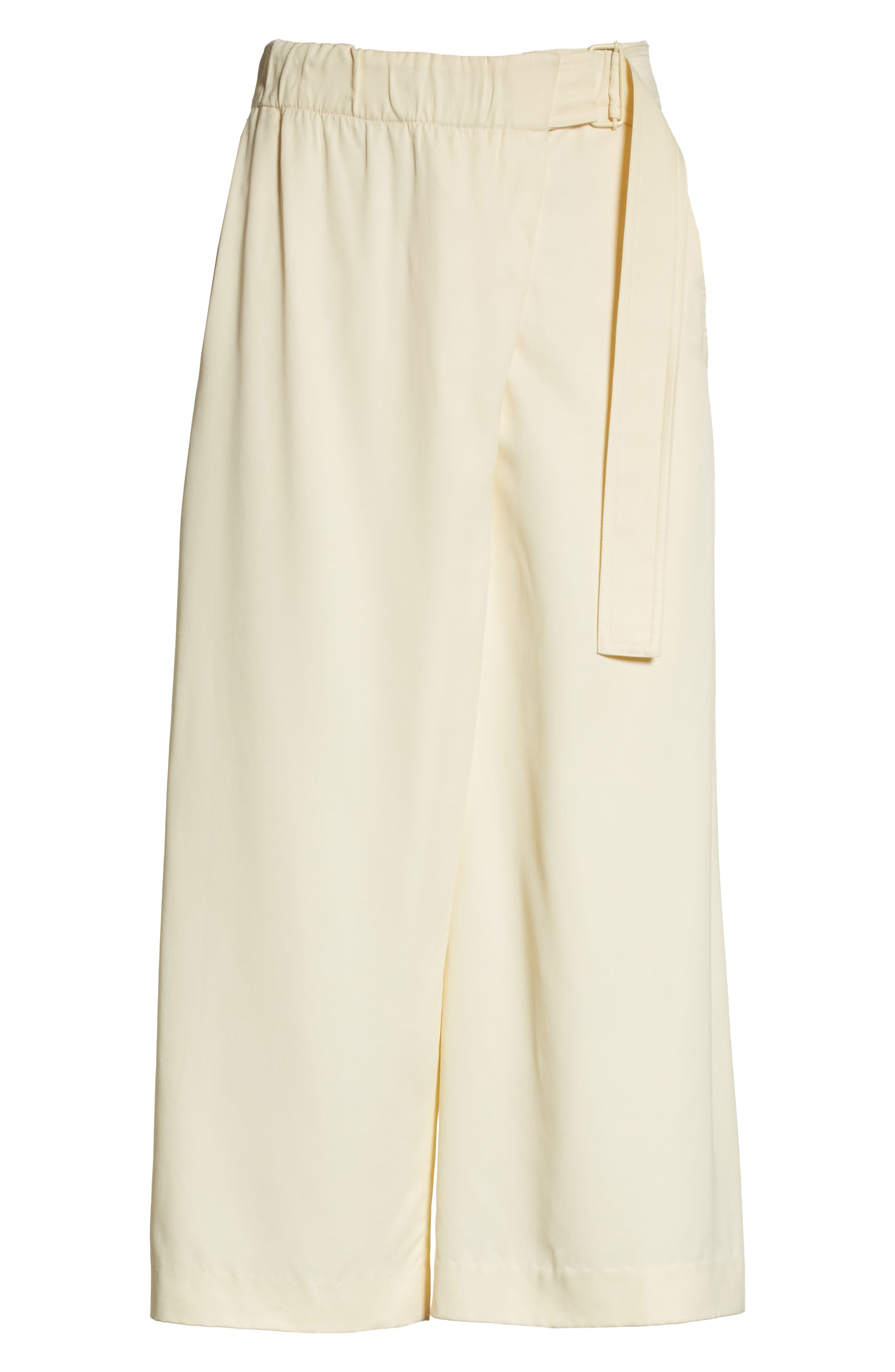 Belted Crossover Culottes,                             Alternate thumbnail 6, color,                             Buttercream