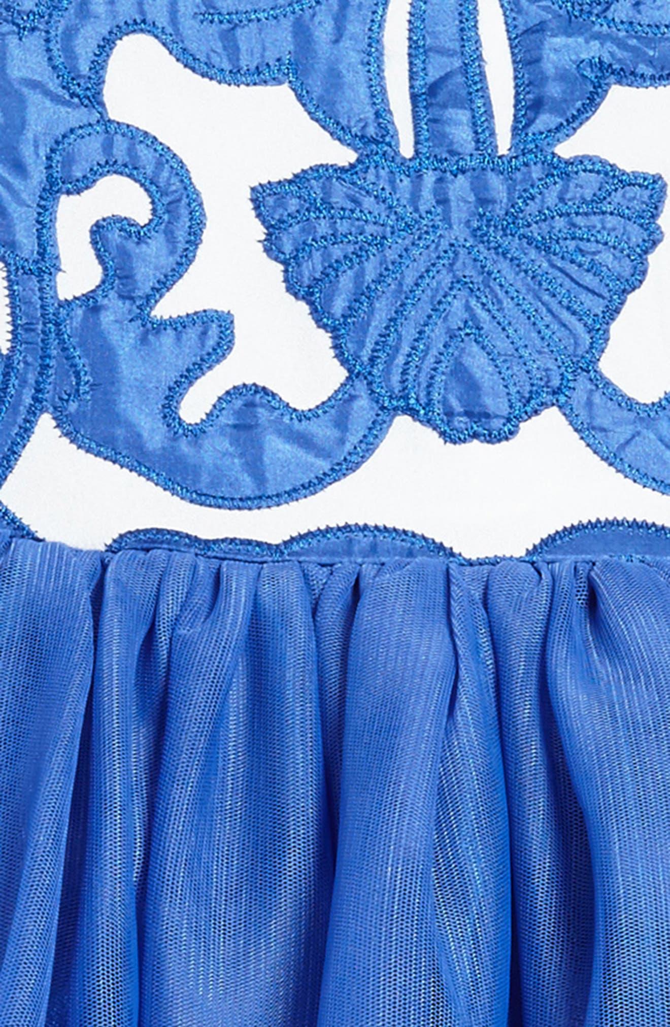 Appliqué Tulle Dress,                             Alternate thumbnail 3, color,                             Royal