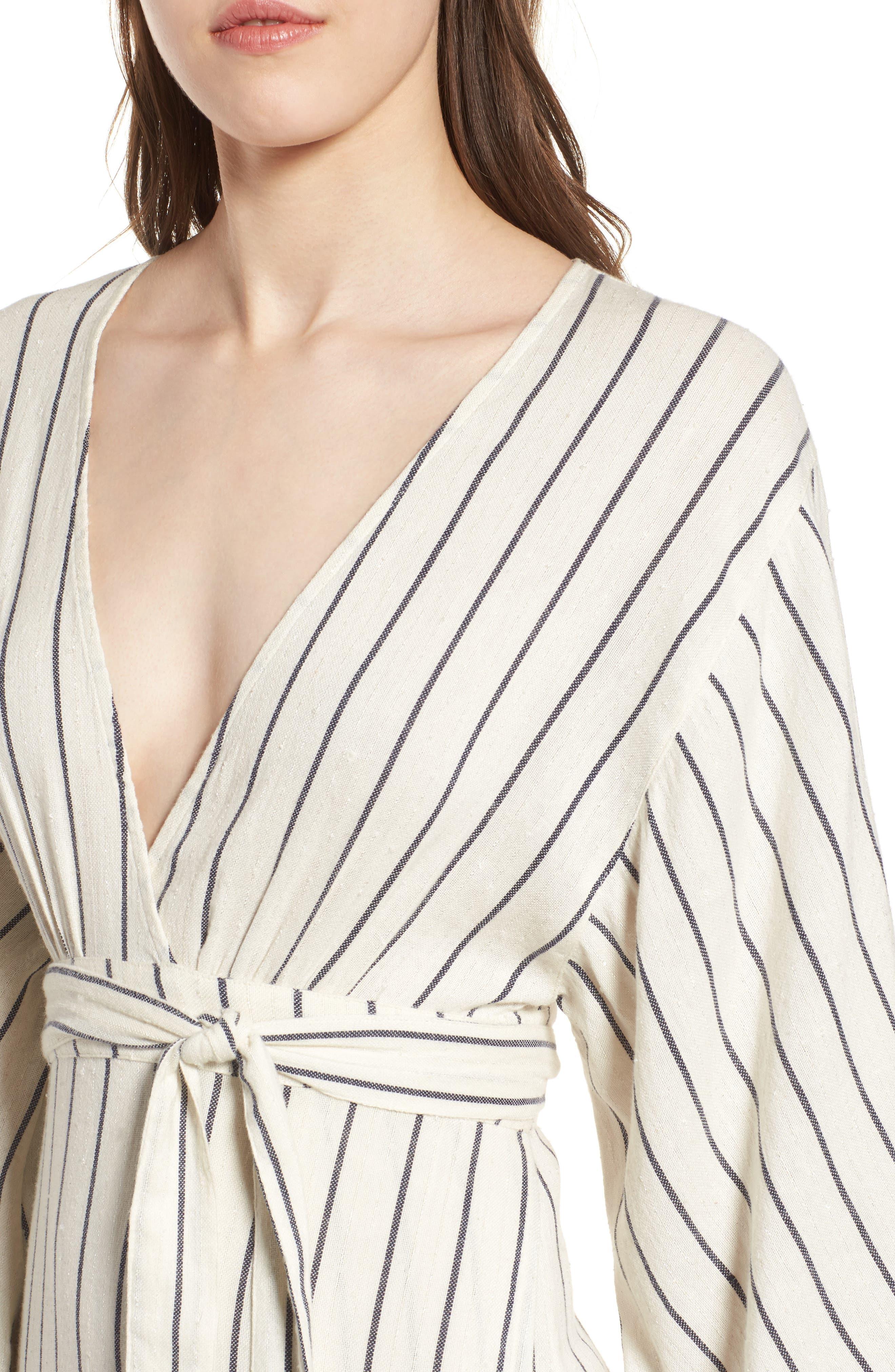 Robe Life Striped Midi Dress,                             Alternate thumbnail 4, color,                             Cool Wip