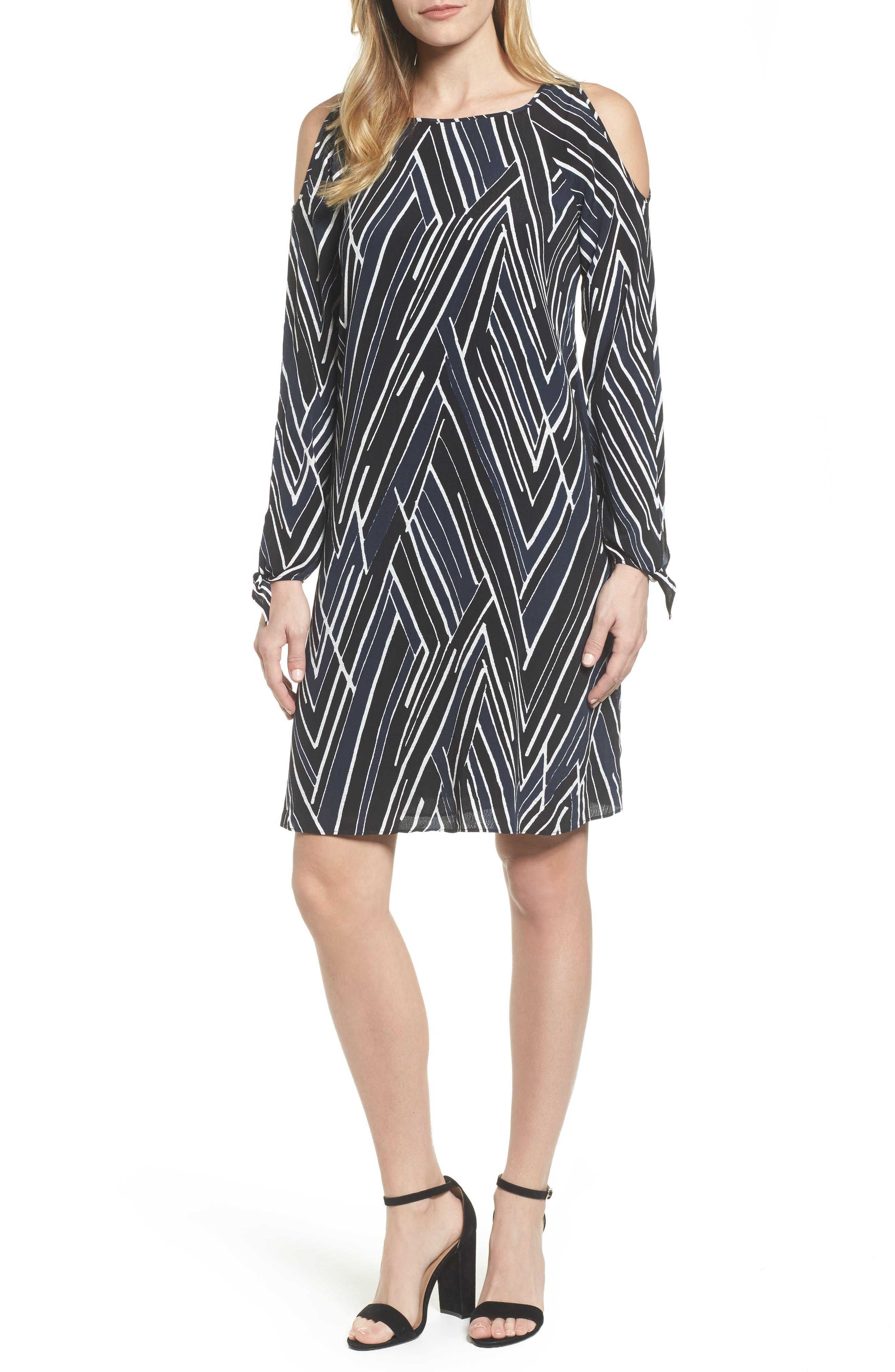 Bells & Whistles Cold Shoulder Dress,                         Main,                         color, Black Multi