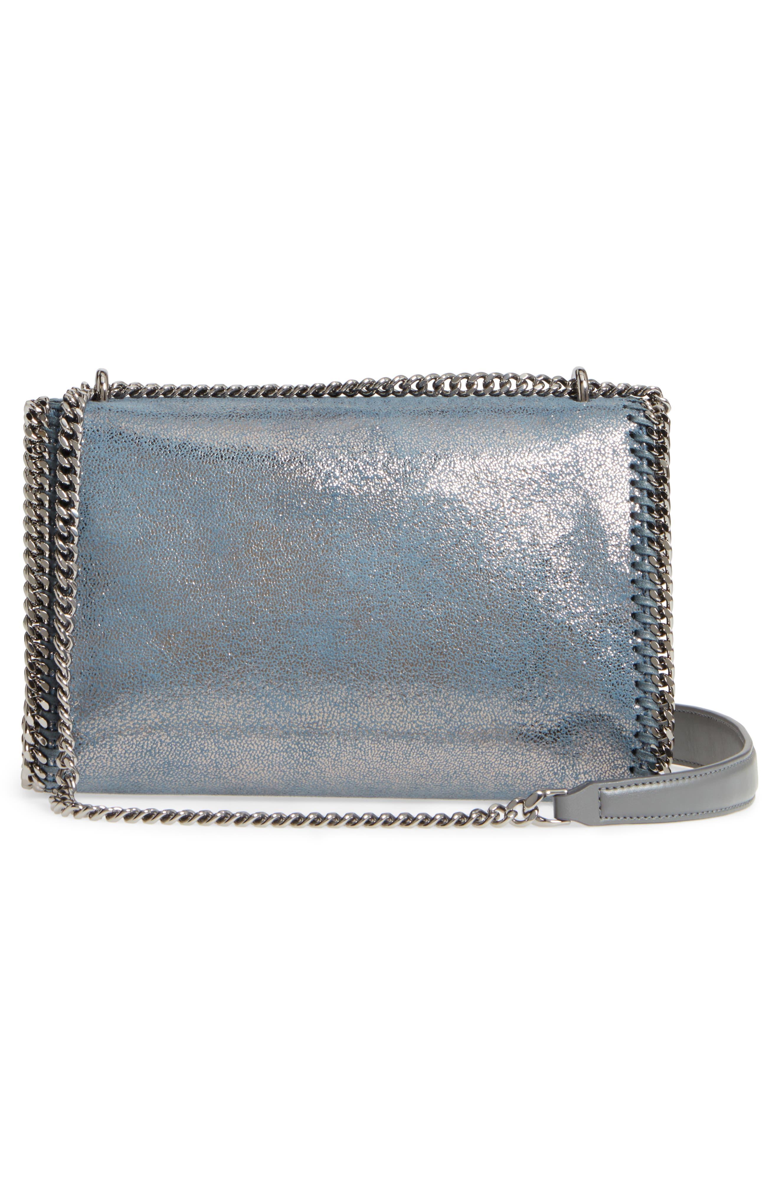Falabella Metallic Faux Leather Convertible Shoulder Bag,                             Alternate thumbnail 3, color,                             Blue Lagoon
