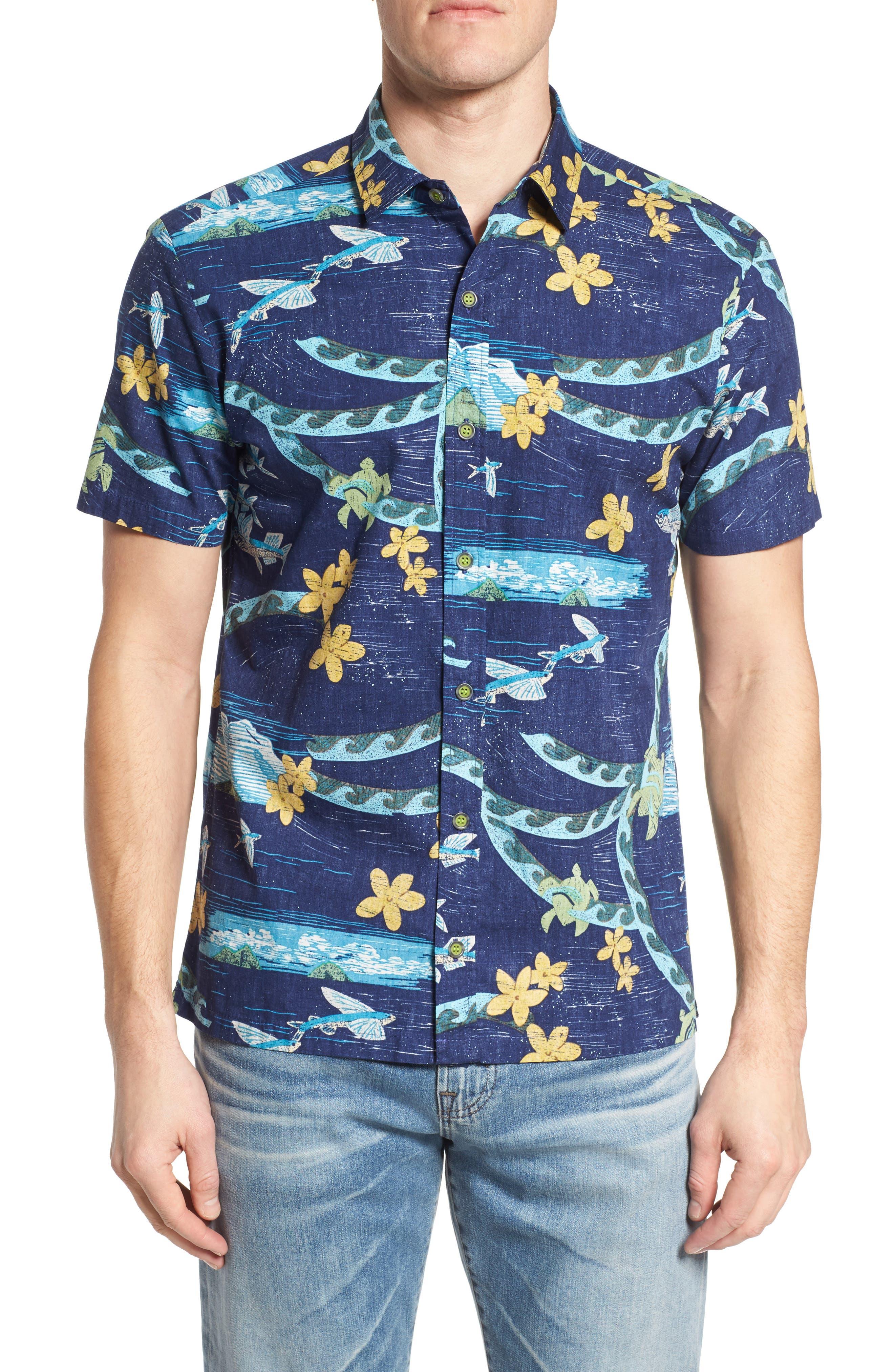 Sea Flight Trim Fit Sport Shirt,                         Main,                         color, Navy