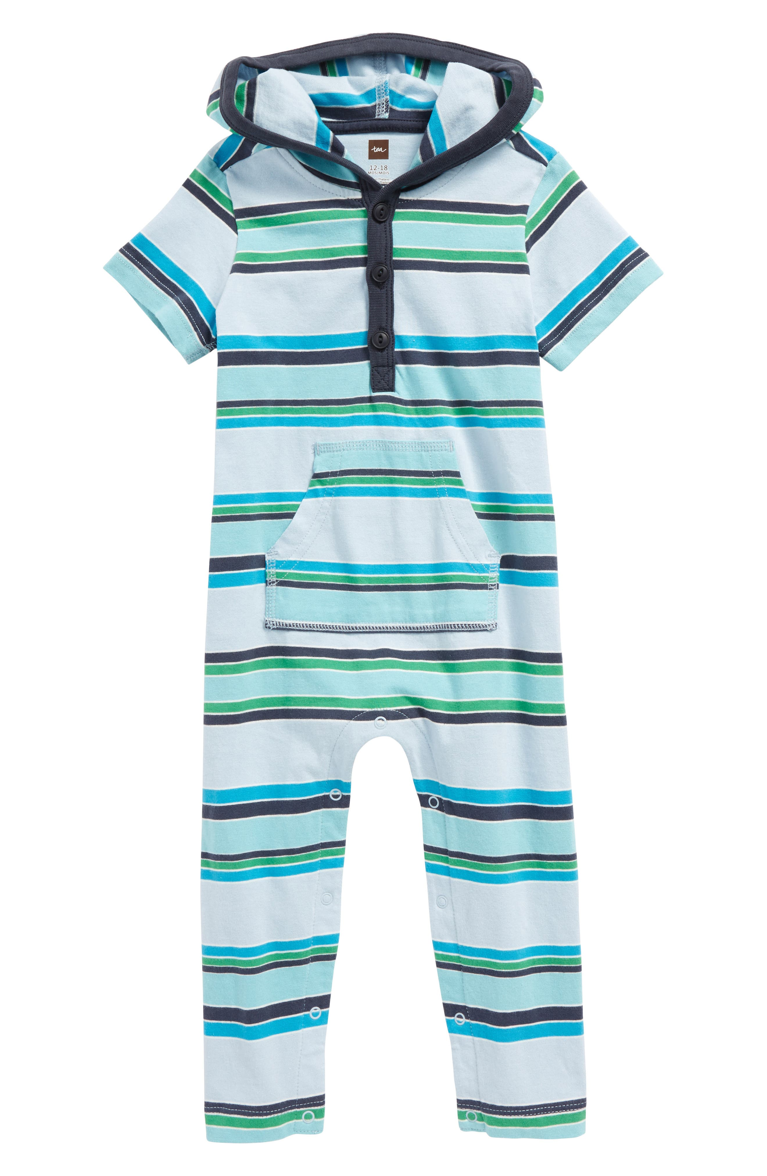 Main Image - Tea Collection Horizon Hooded Romper (Baby Boys)