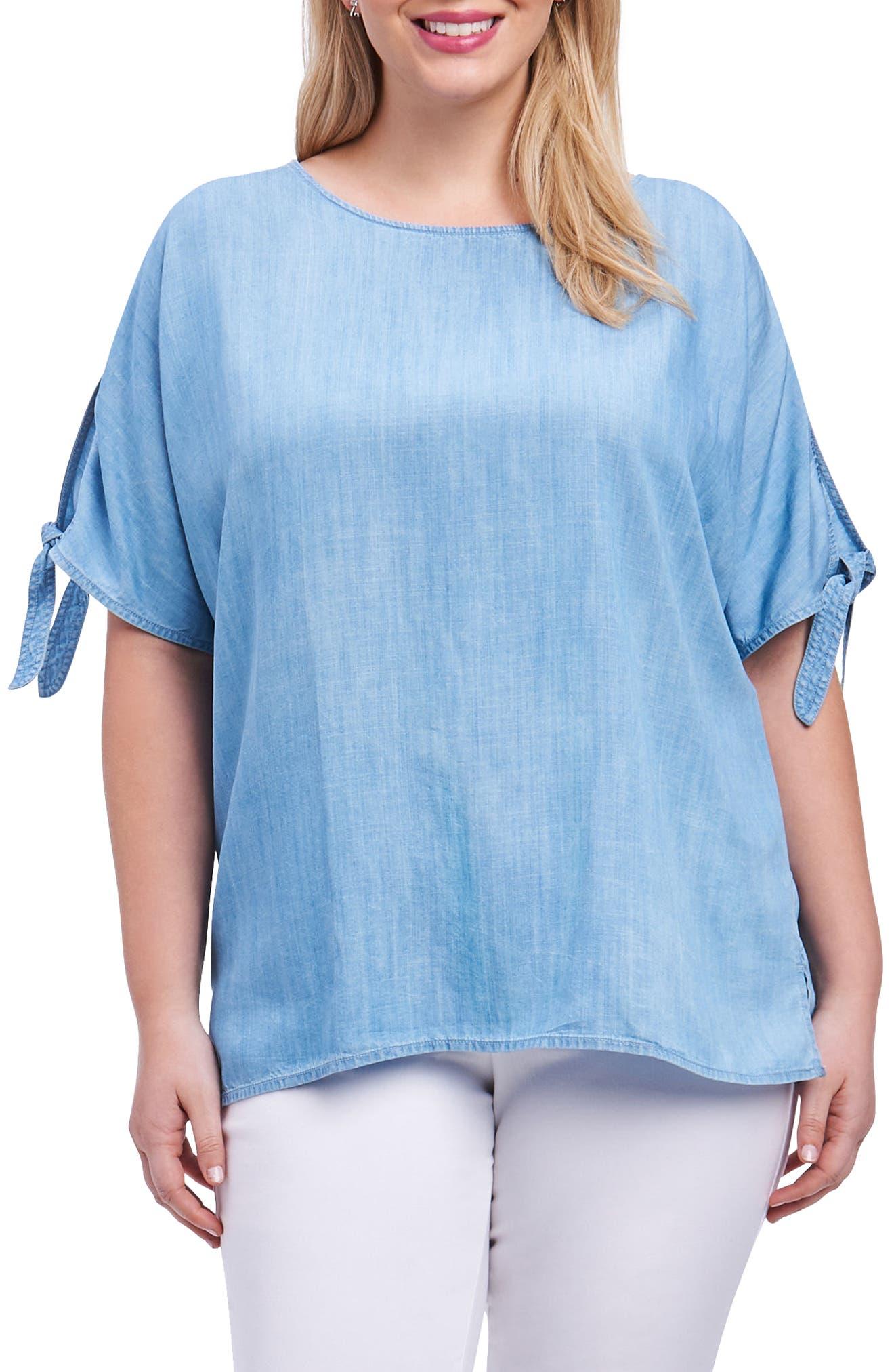 Laura Tie Sleeve Chambray Shirt,                             Main thumbnail 1, color,                             Blue Wash