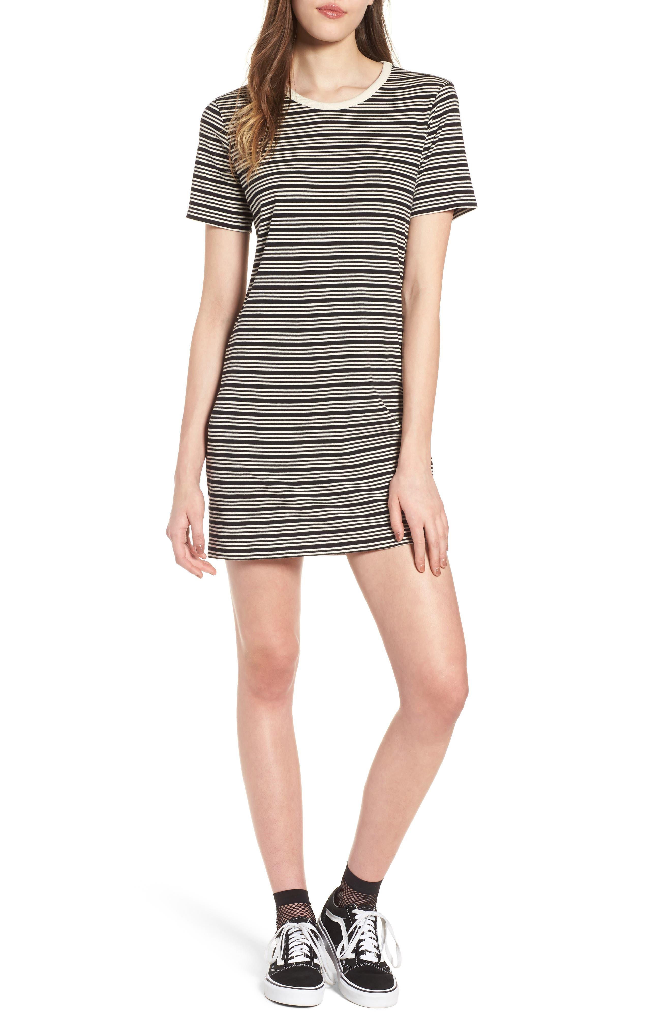 Freya Stripe T-Shirt Dress,                         Main,                         color, Black Multi