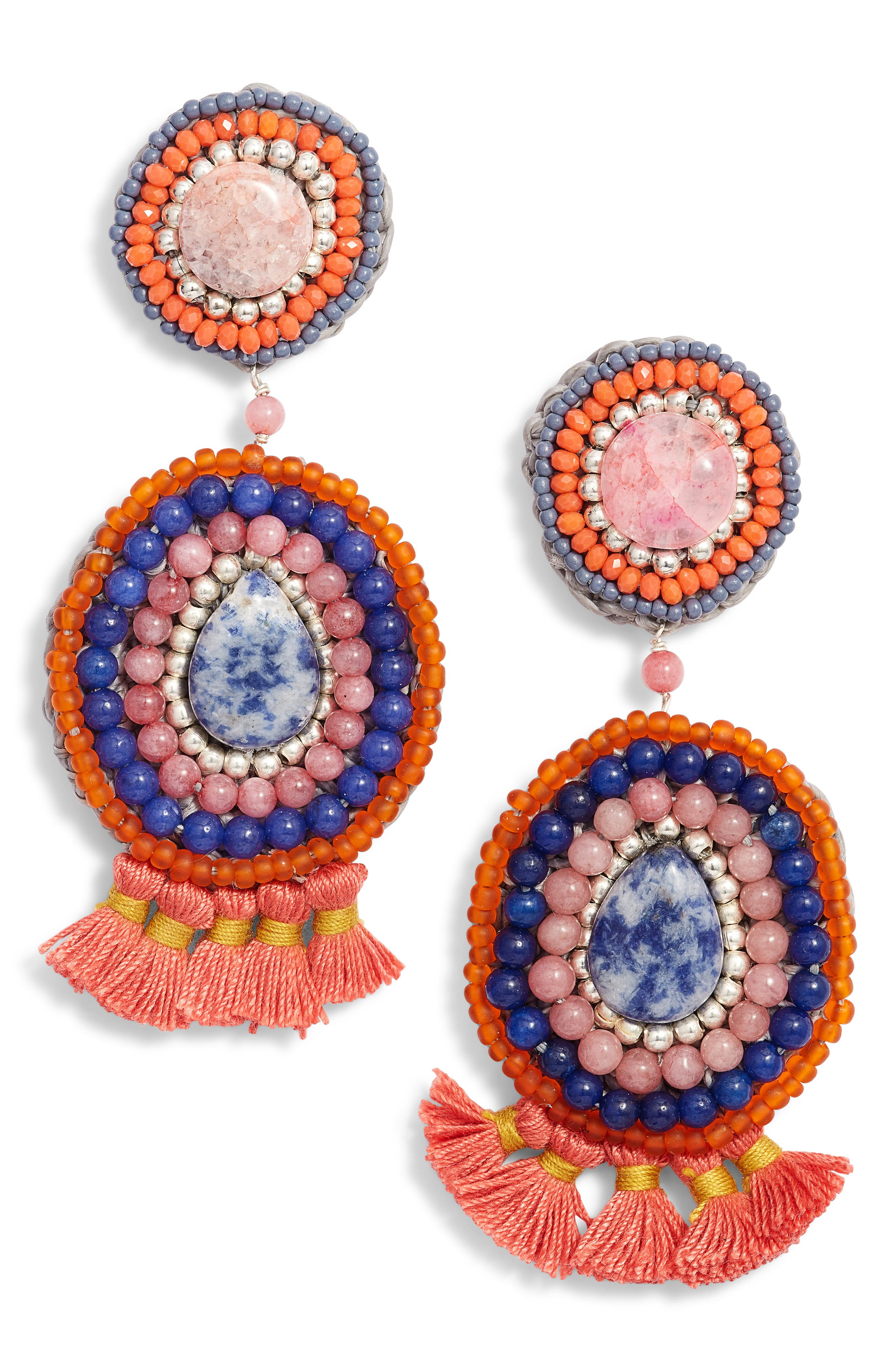 Circle Crochet Drop Earrings,                             Main thumbnail 1, color,                             Multi