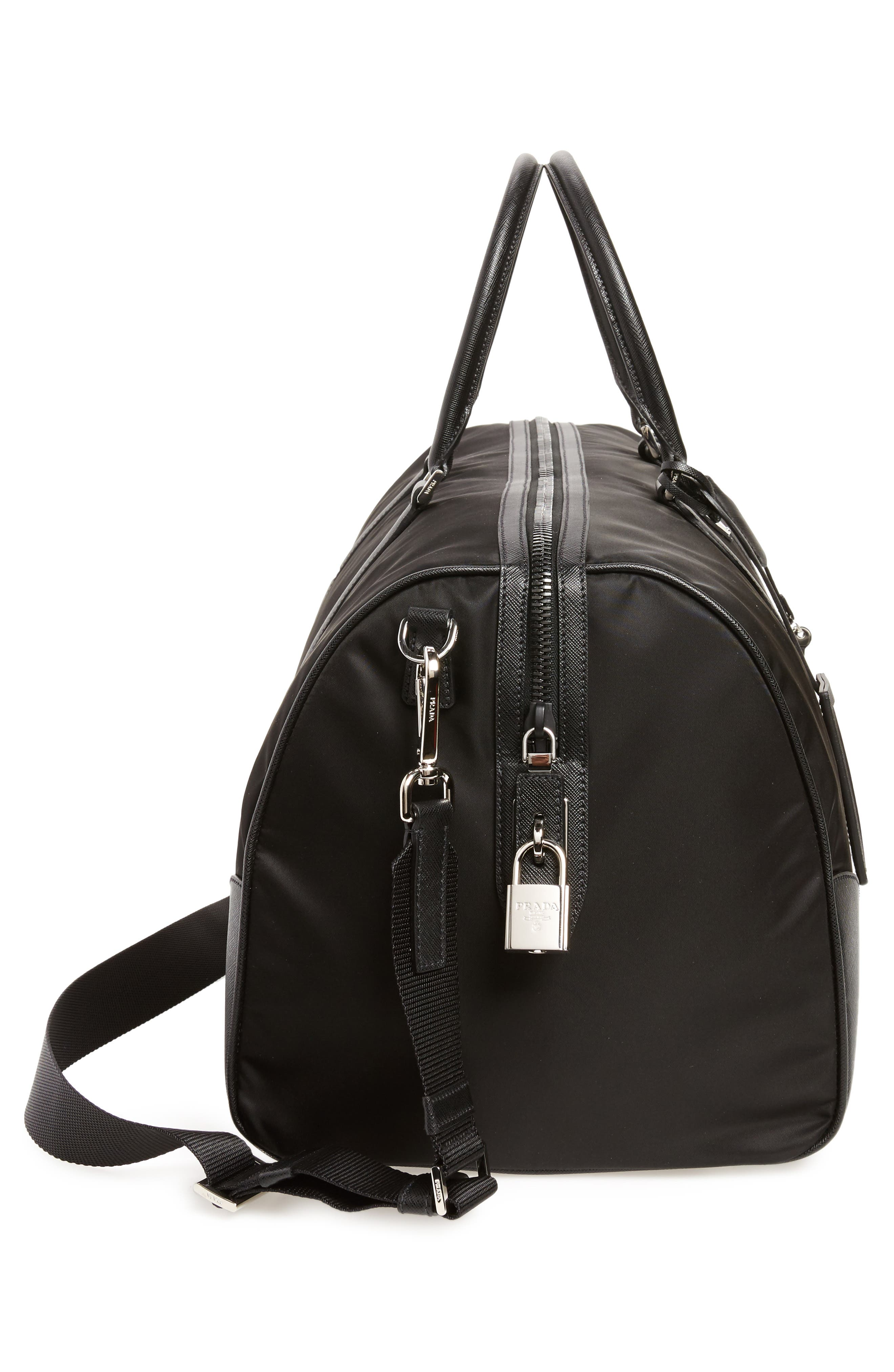 Nylon & Saffiano Leather Bowling Bag,                             Alternate thumbnail 5, color,                             Nero