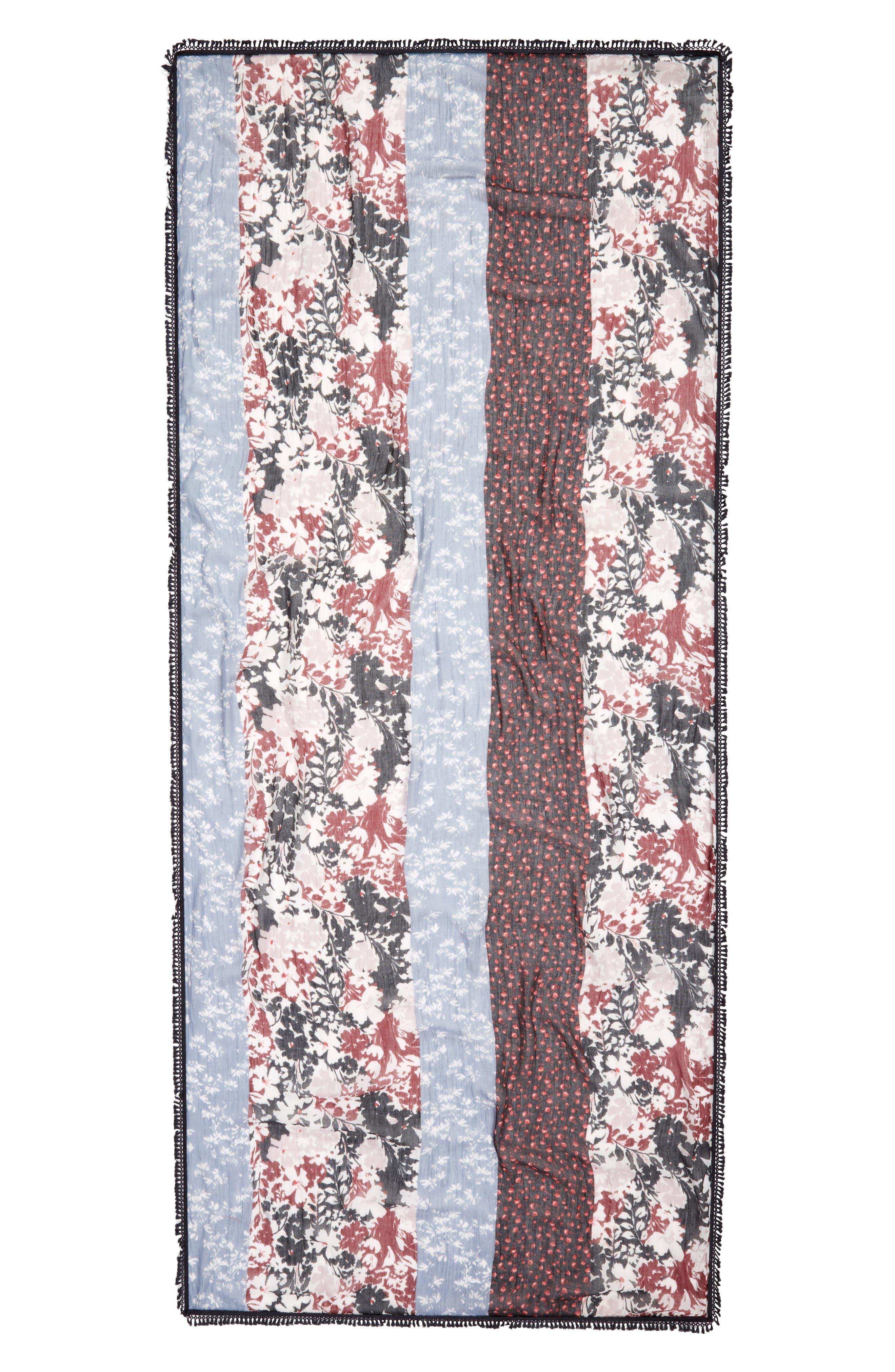 Tassel Trim Printed Wrap,                             Alternate thumbnail 3, color,                             Black Floral Romance Print