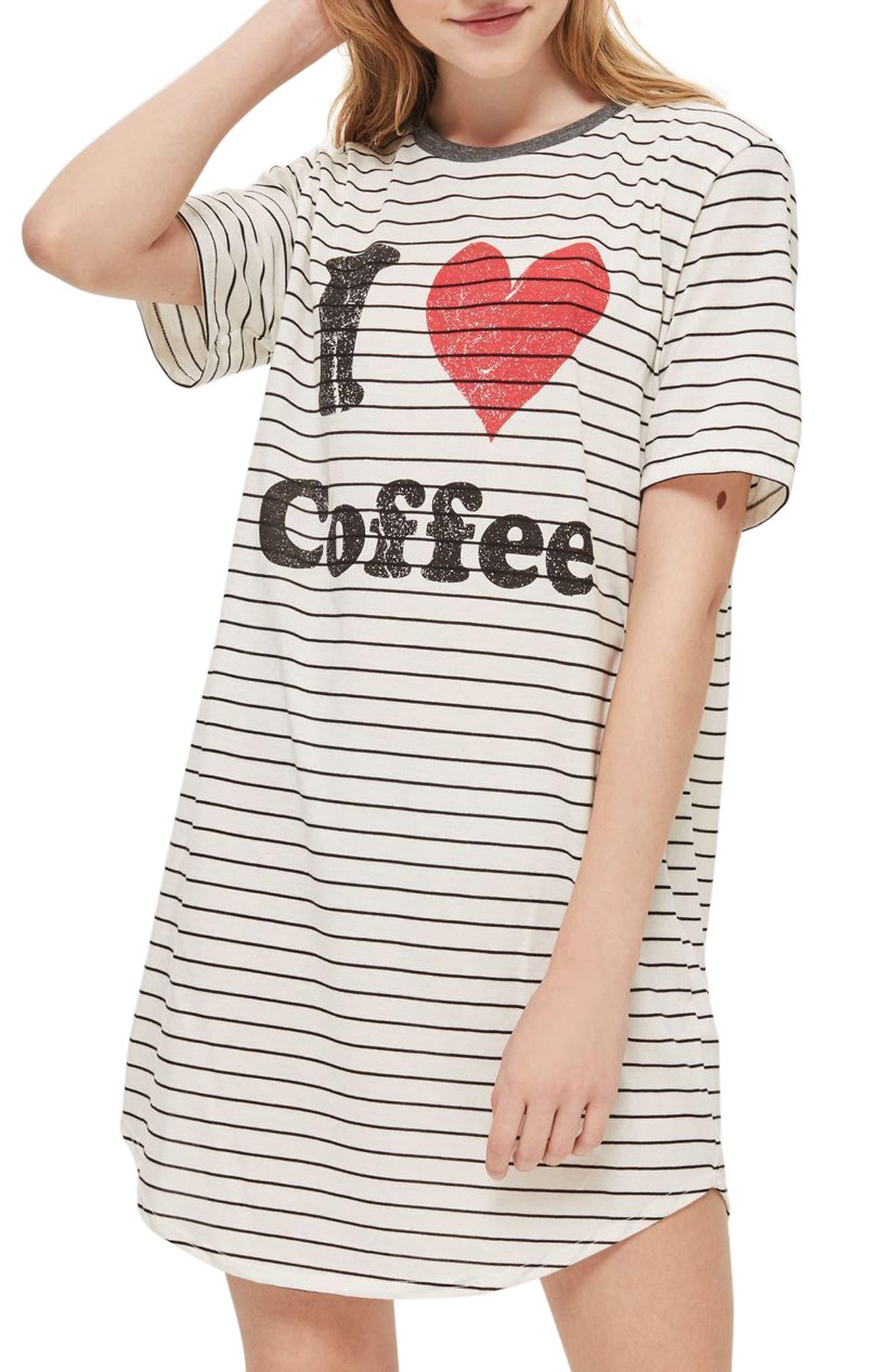 I Love Coffee Sleep T-Shirt Dress,                             Main thumbnail 1, color,                             White Multi