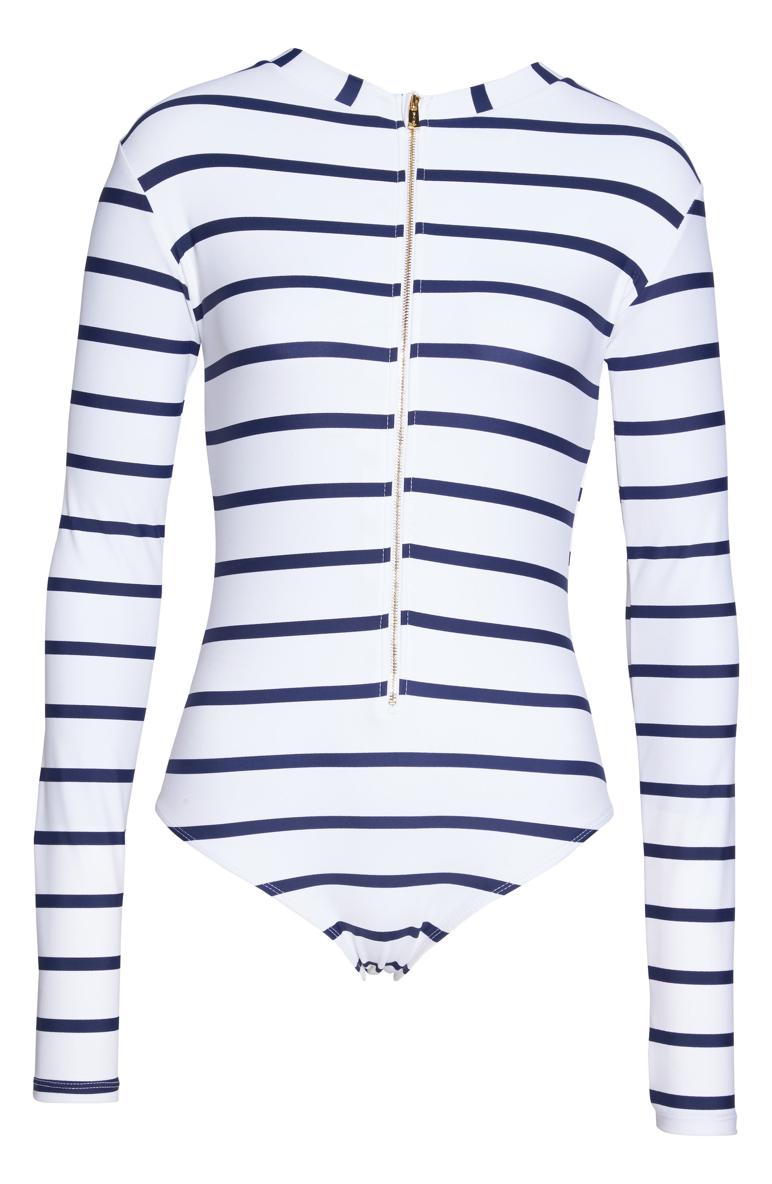 Long Sleeve One-Piece Swimsuit,                             Alternate thumbnail 6, color,                             Navy/ White
