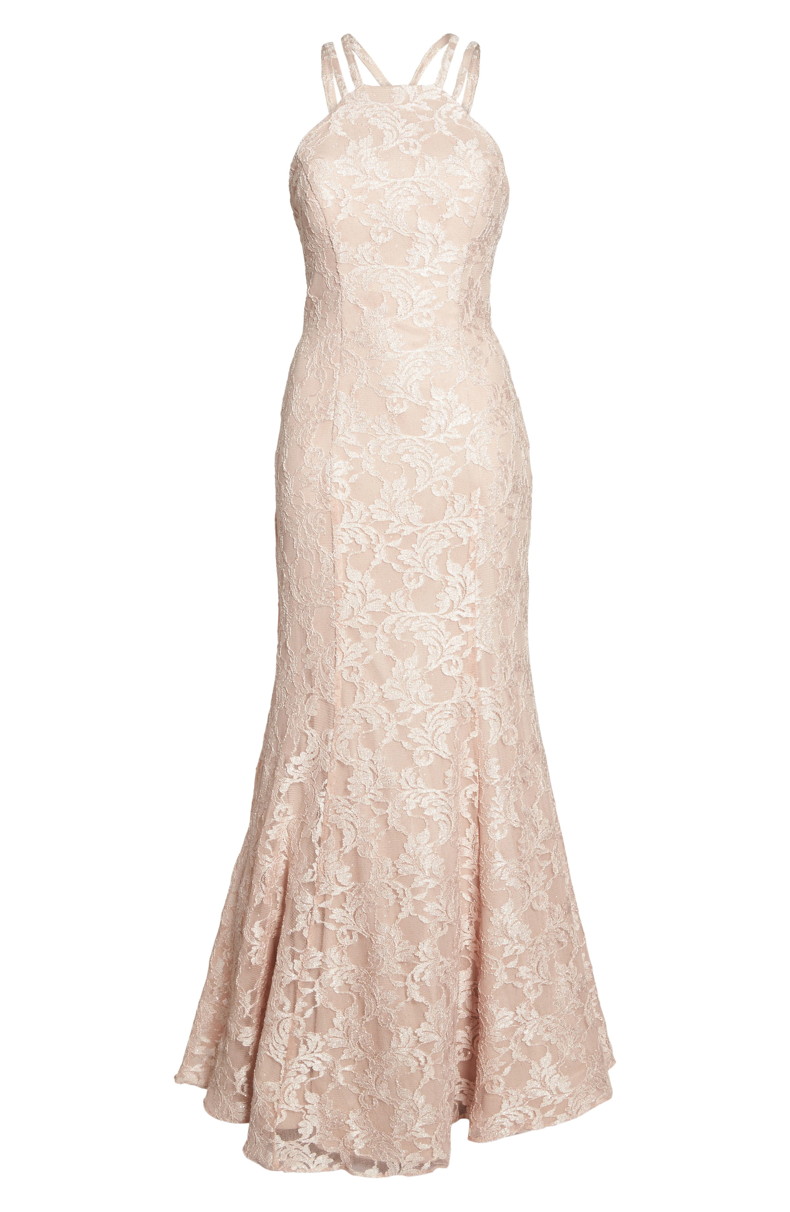Strappy Lace Mermaid Gown,                             Alternate thumbnail 6, color,                             Blush / Nude