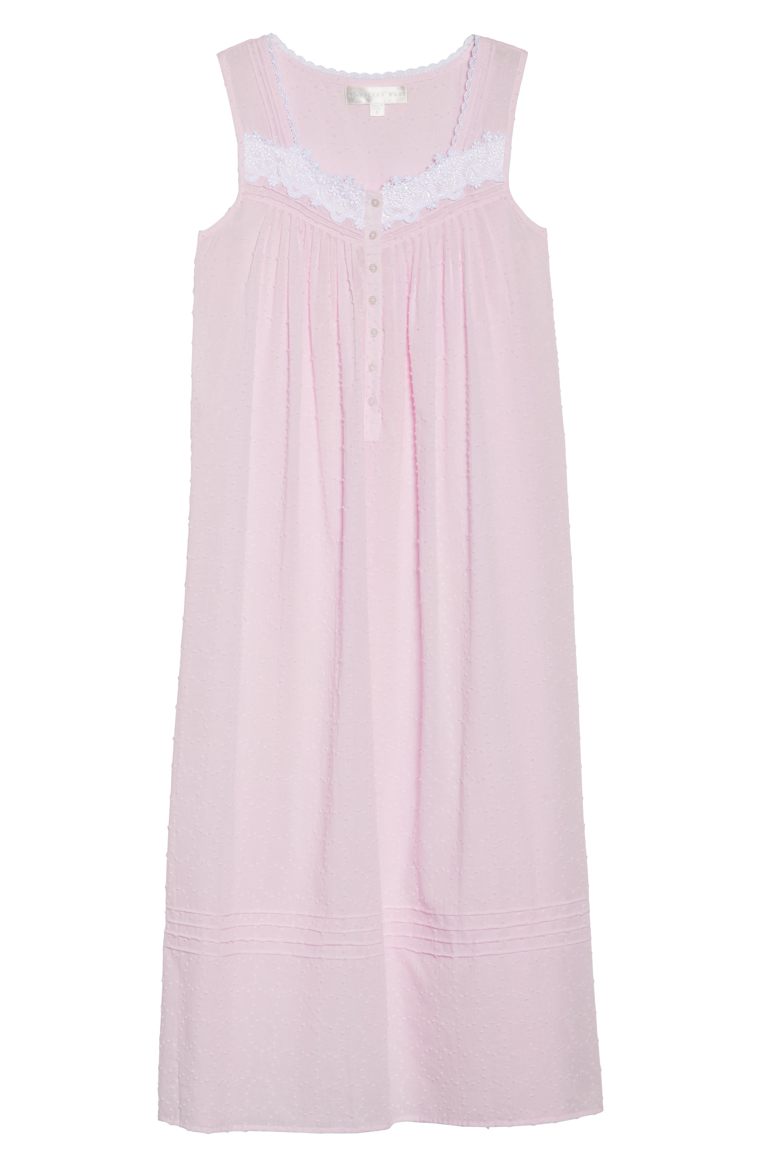 Swiss Dot Nightgown,                             Alternate thumbnail 4, color,                             Solid Rose Circle Clip Dot