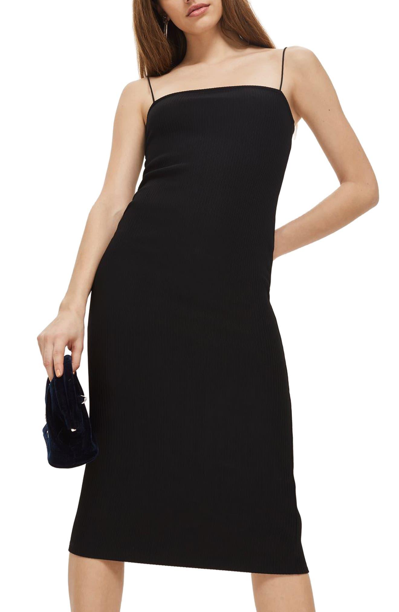 Square Neck Body-Con Midi Dress,                             Main thumbnail 1, color,                             Black