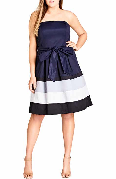 afafc0ef37c7 City Chic Block Stripe Sleeveless Fit   Flare Dress