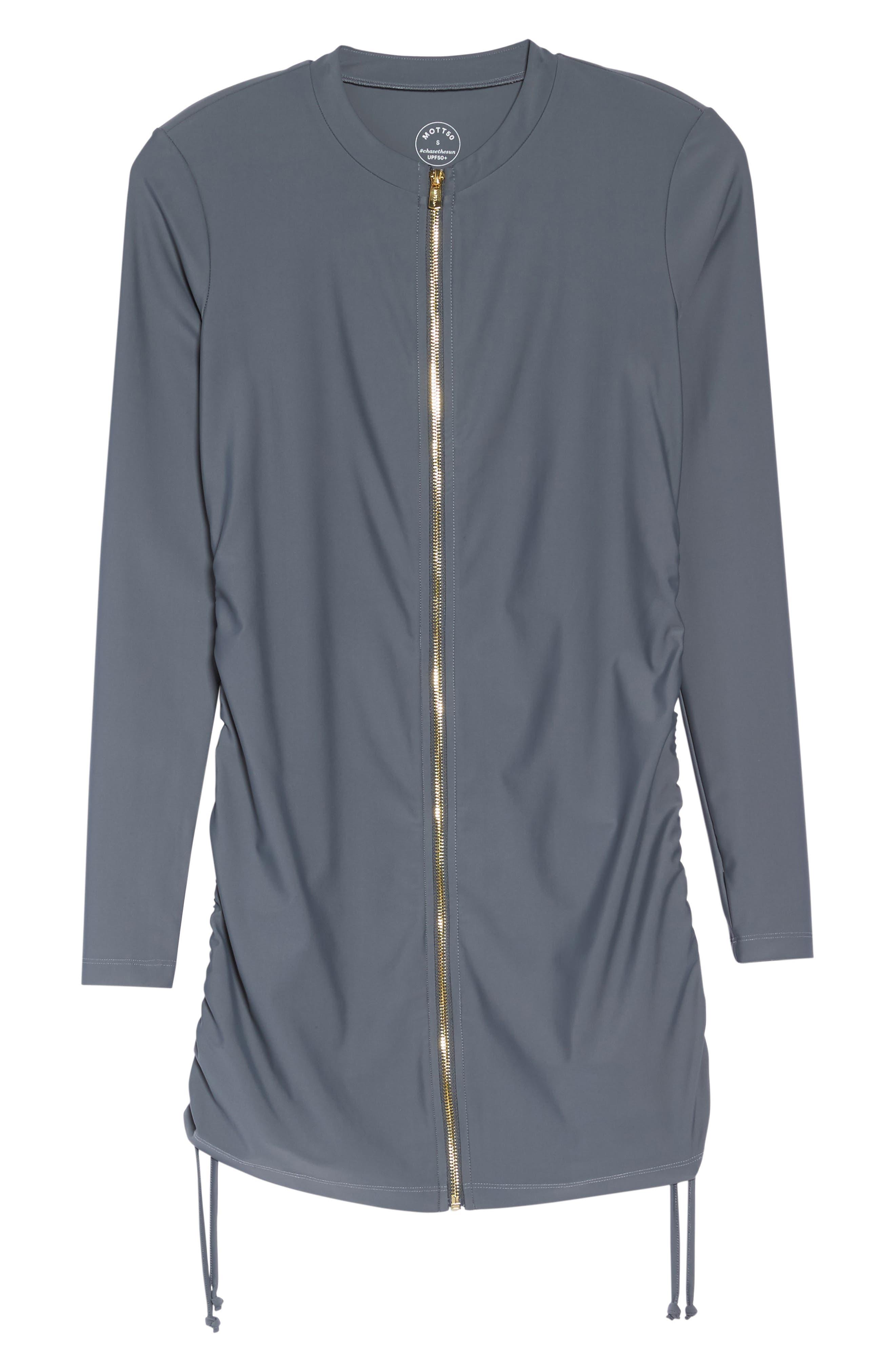 Zip Cover-Up Swim Dress,                             Alternate thumbnail 6, color,                             Grey