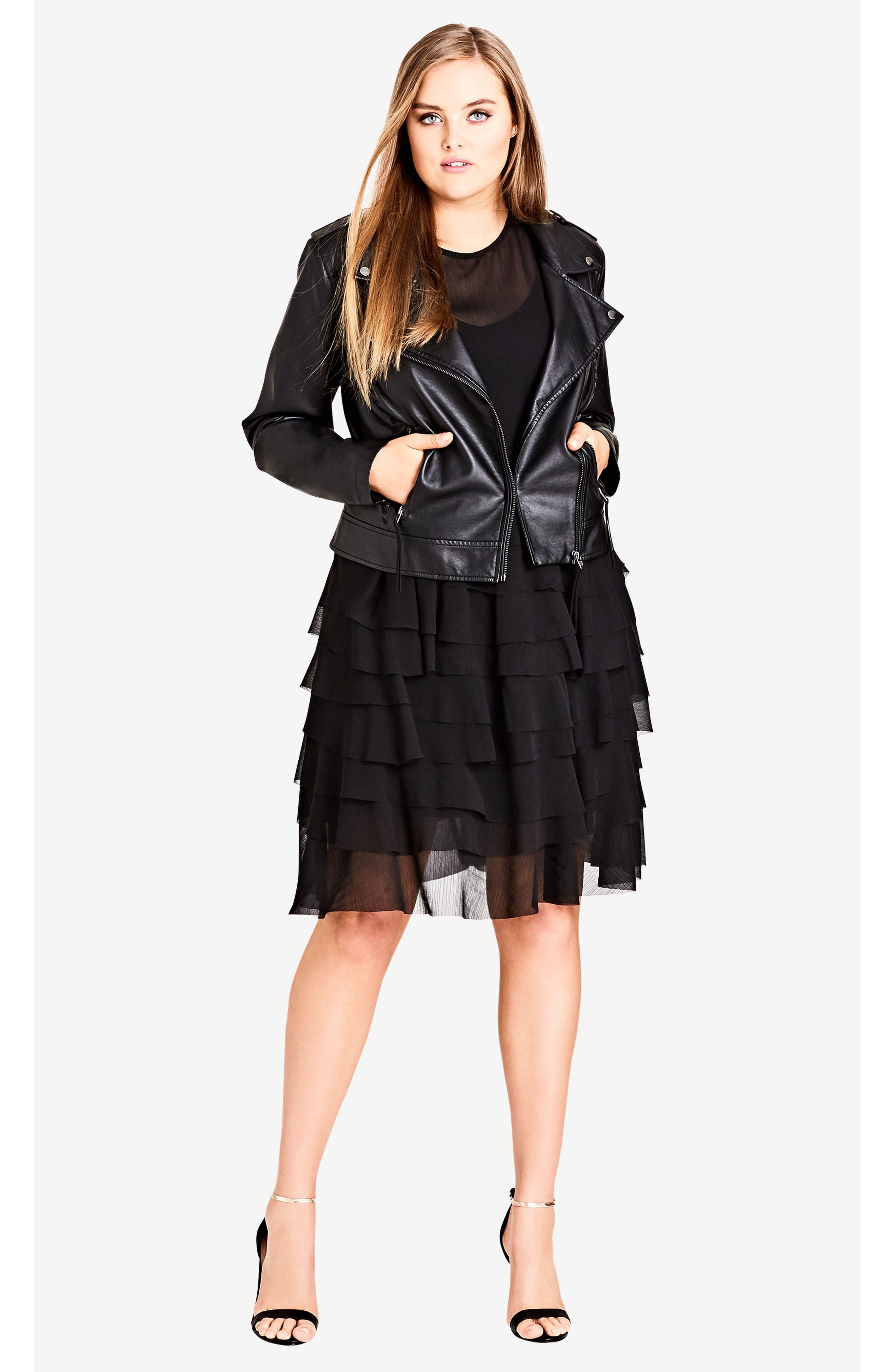 Tiered Love Ruffle Chiffon Dress,                             Alternate thumbnail 3, color,                             Black