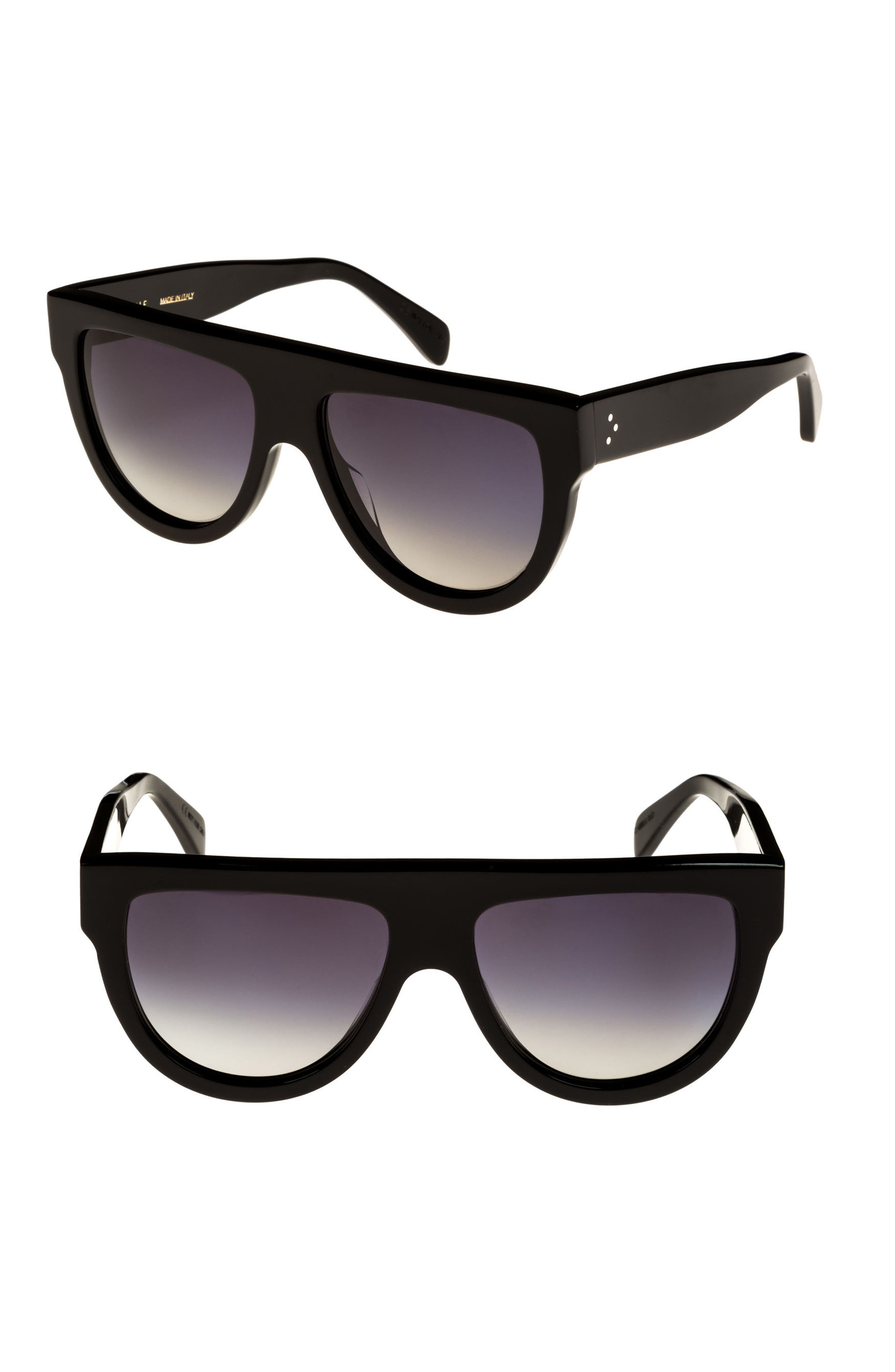 Special Fit 60mm Polarized Gradient Flat Top Sunglasses,                         Main,                         color, Black/ Gradient Smoke
