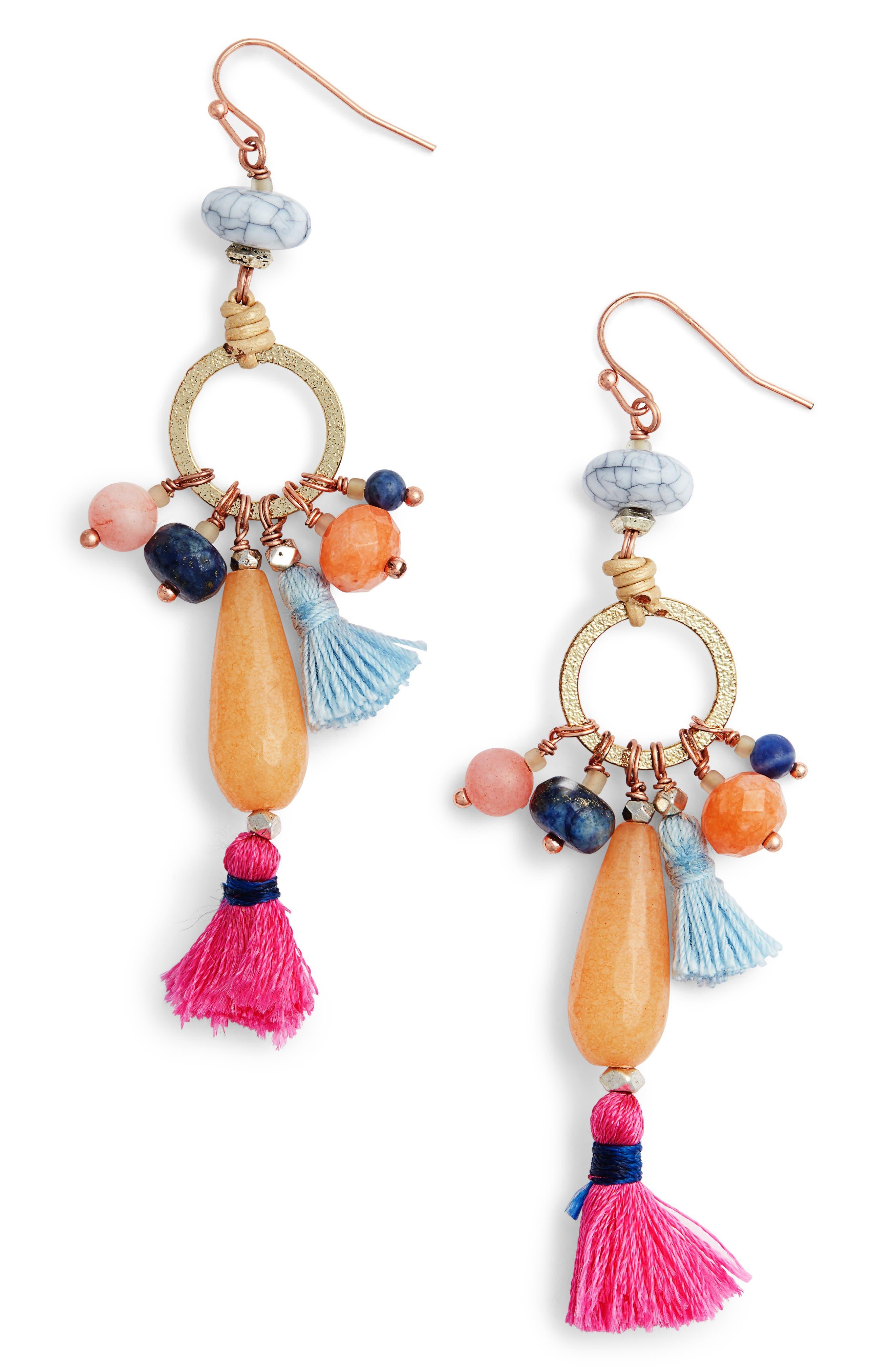 Stone & Tassel Drop Earrings,                             Main thumbnail 1, color,                             Multi