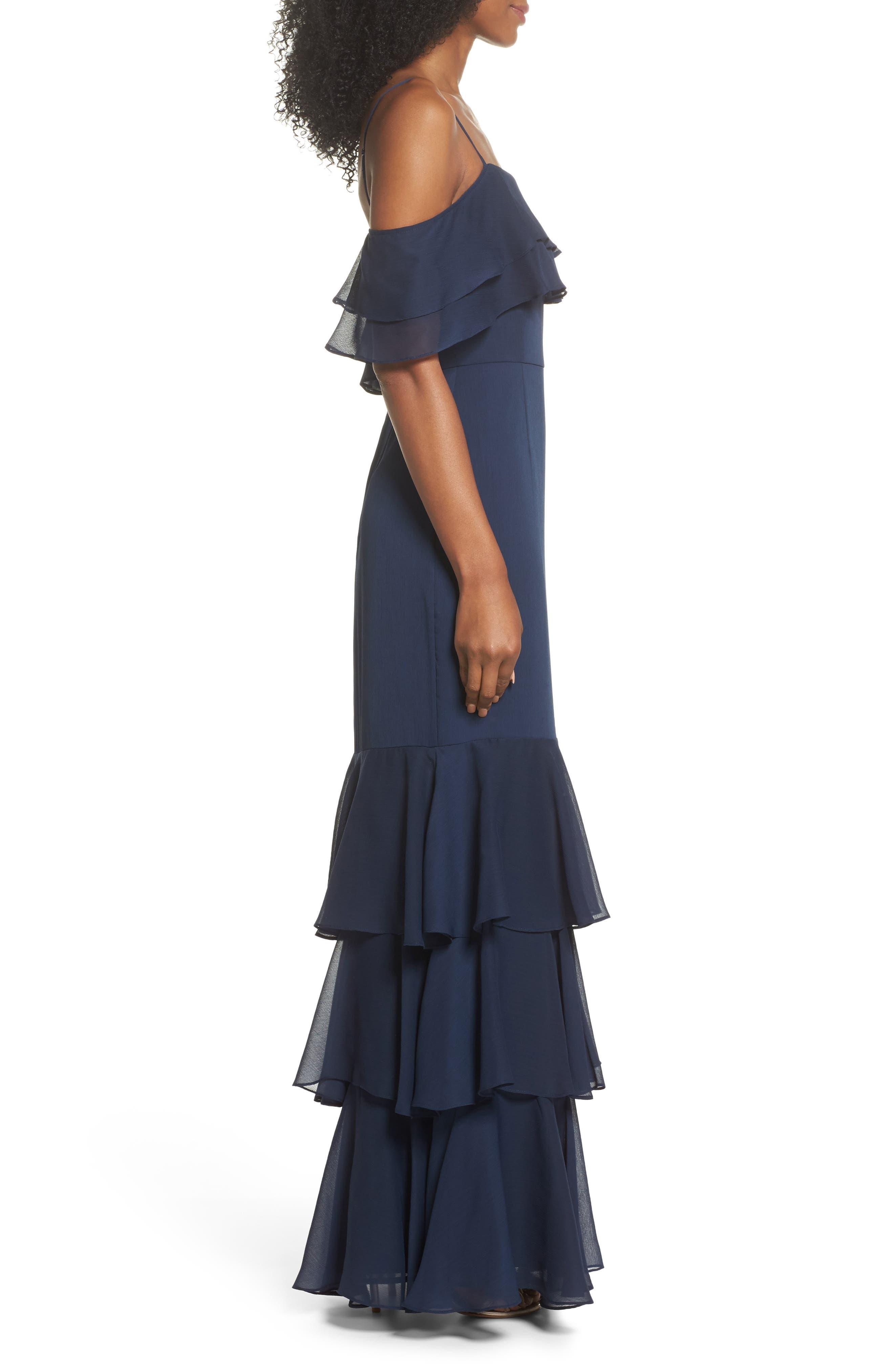 Lauren Cold Shoulder Tiered Gown,                             Alternate thumbnail 3, color,                             Navy