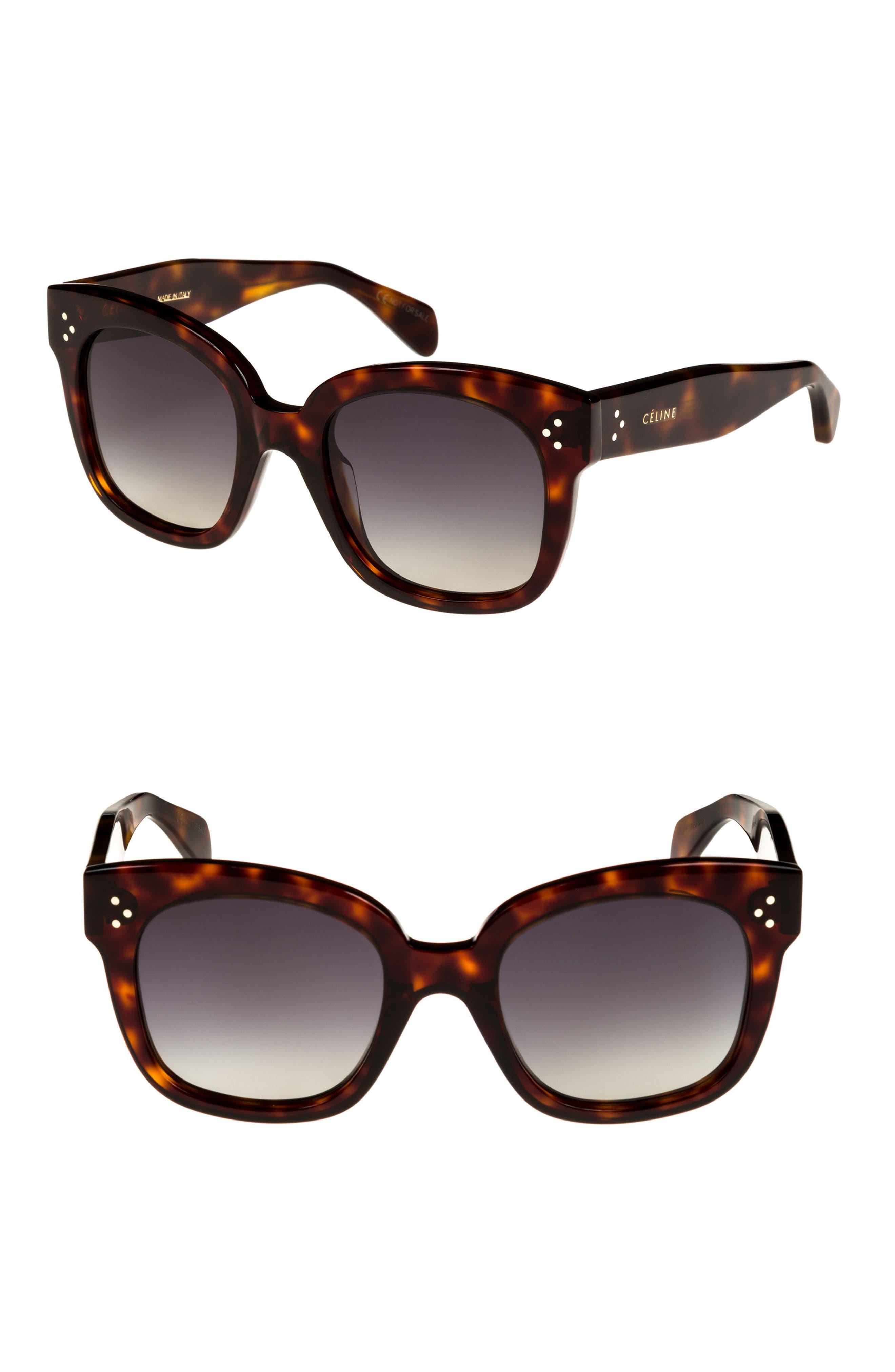 54mm Square Sunglasses,                             Main thumbnail 1, color,                             Red Havan/ Smoke