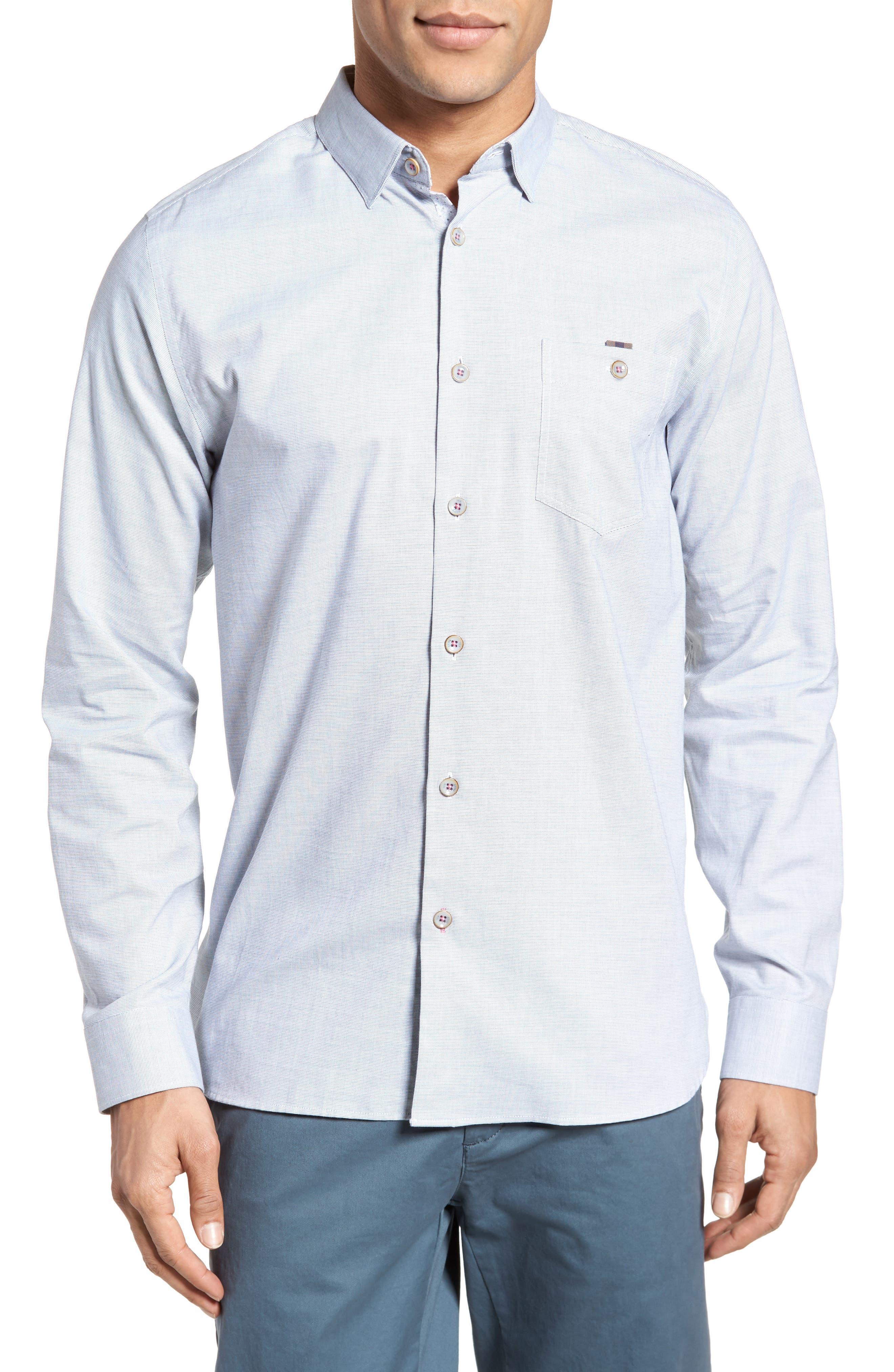Slim Fit Textured Sport Shirt,                             Main thumbnail 1, color,                             Grey