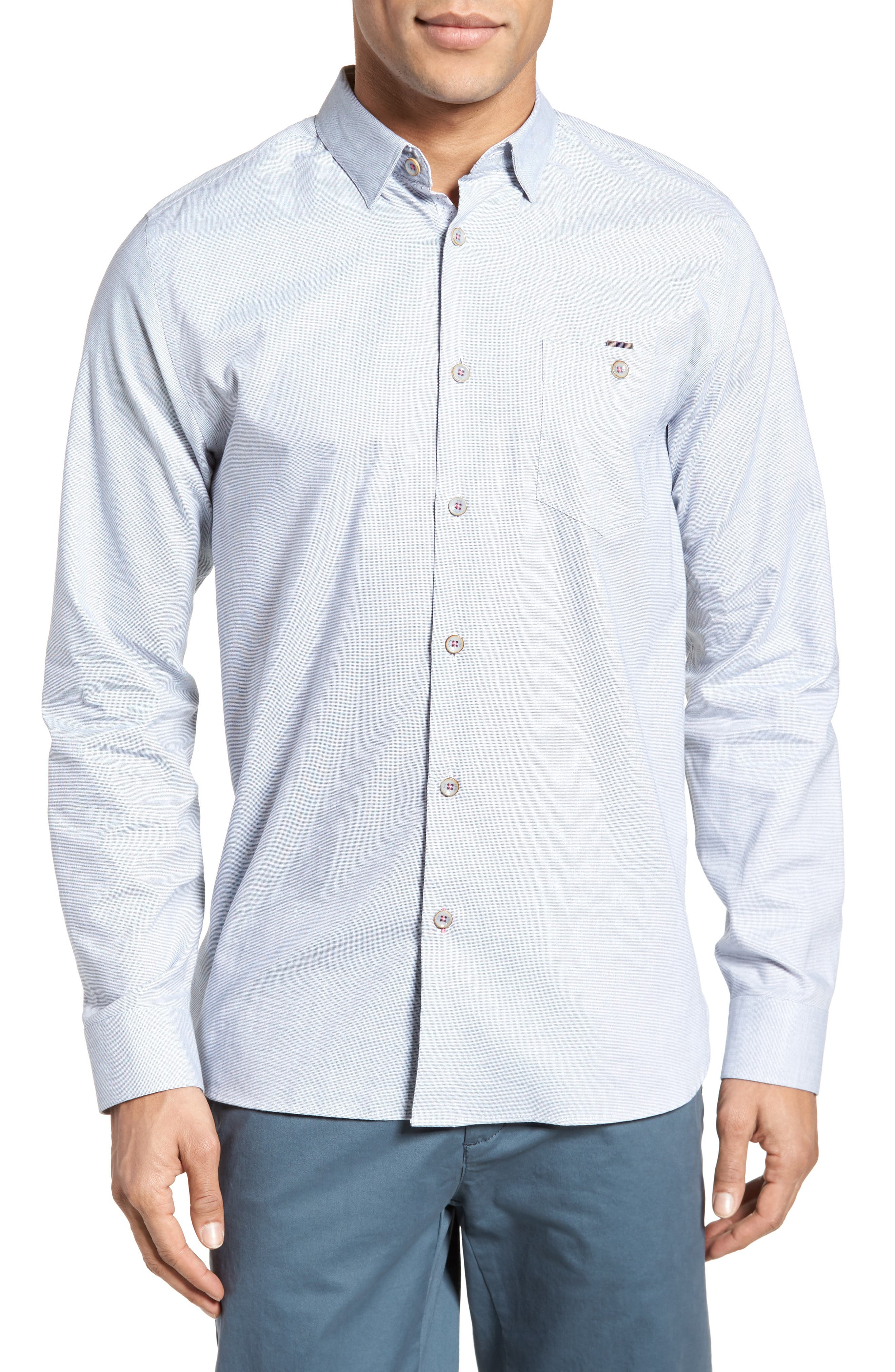 Slim Fit Textured Sport Shirt,                         Main,                         color, Grey