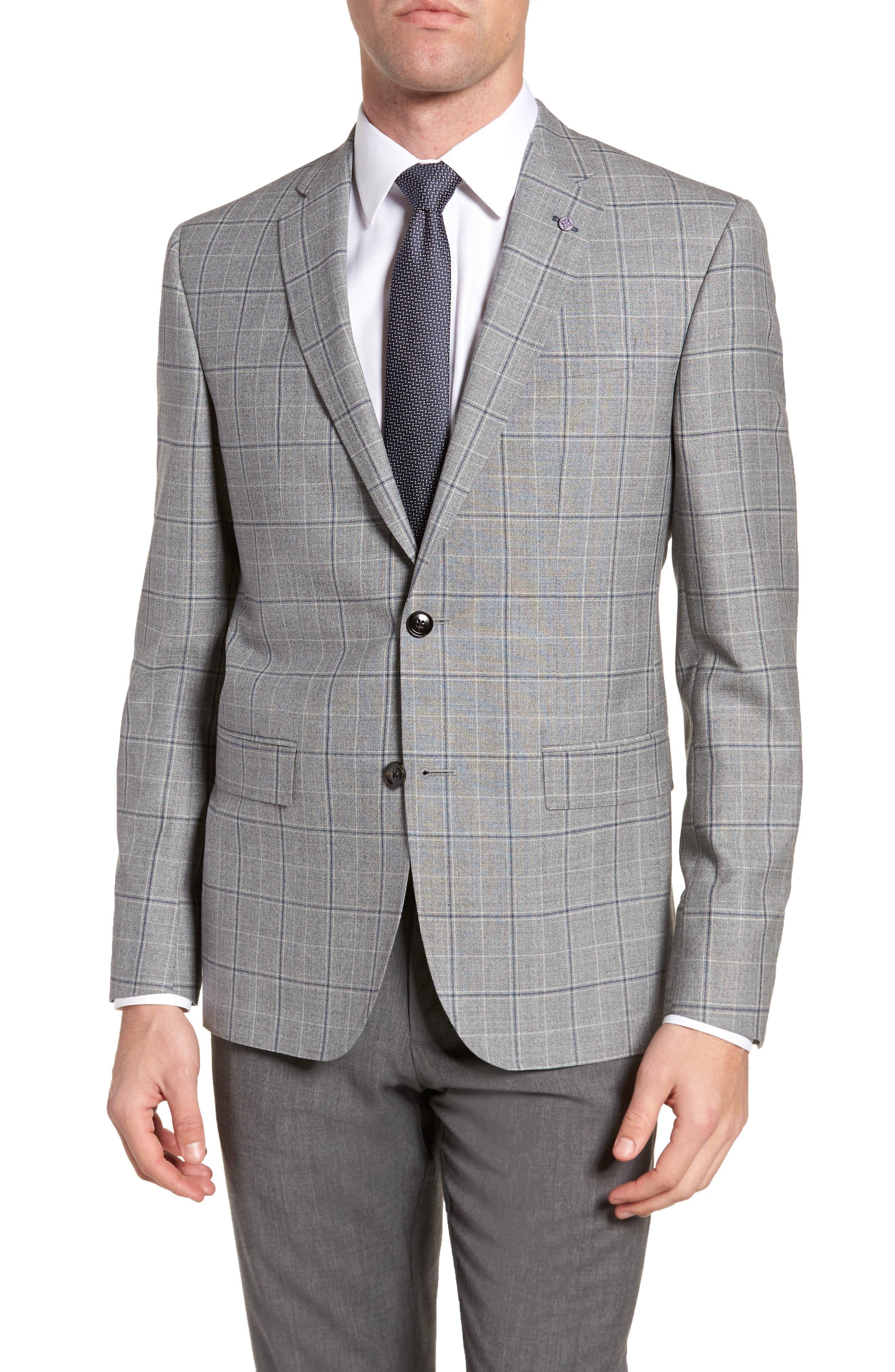 Jay Trim Fit Plaid Wool Sport Coat,                         Main,                         color, Light Grey