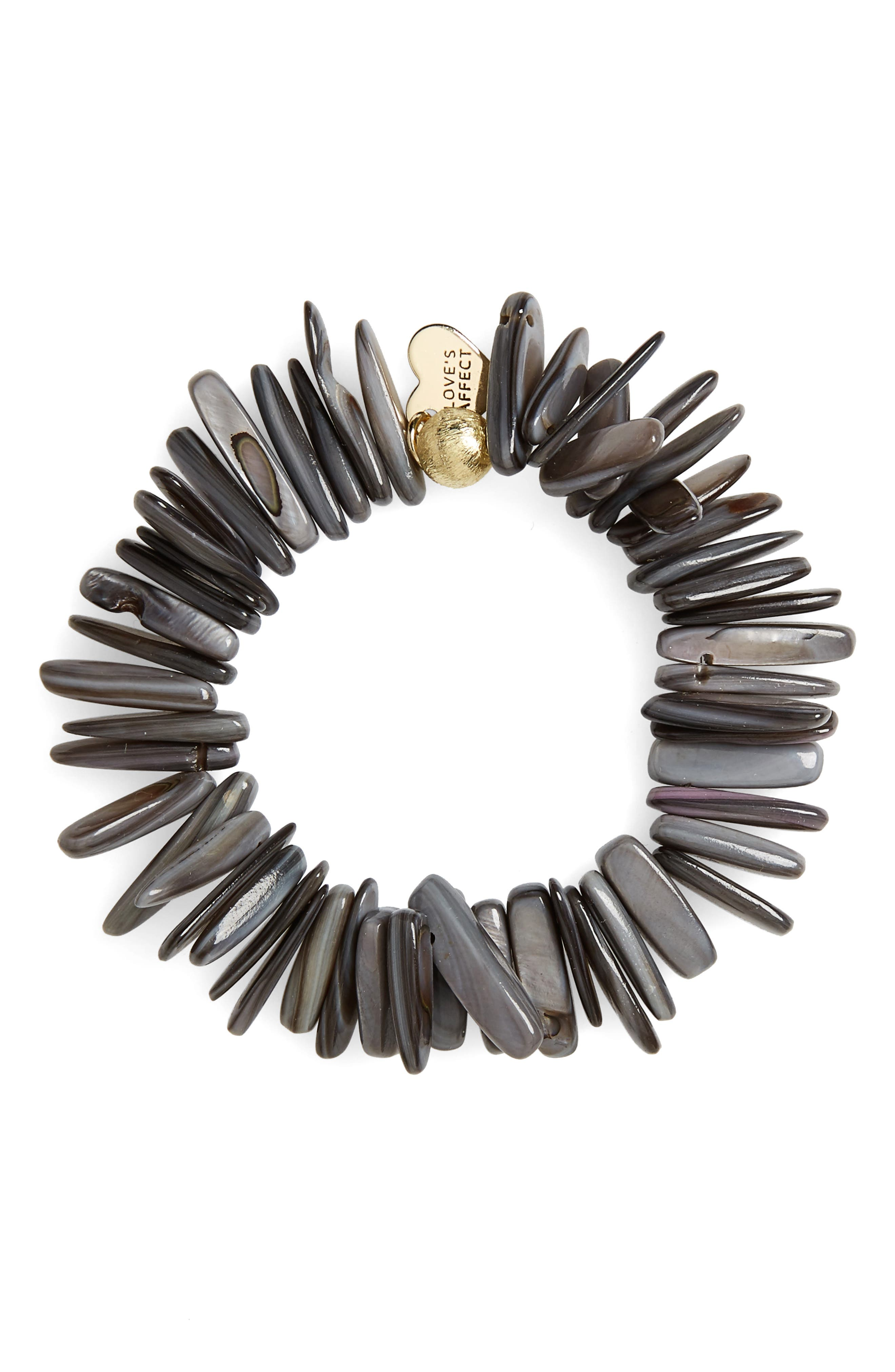 Love's Affect Jenna Semiprecious Stone Stretch Bracelet,                             Main thumbnail 1, color,                             Grey