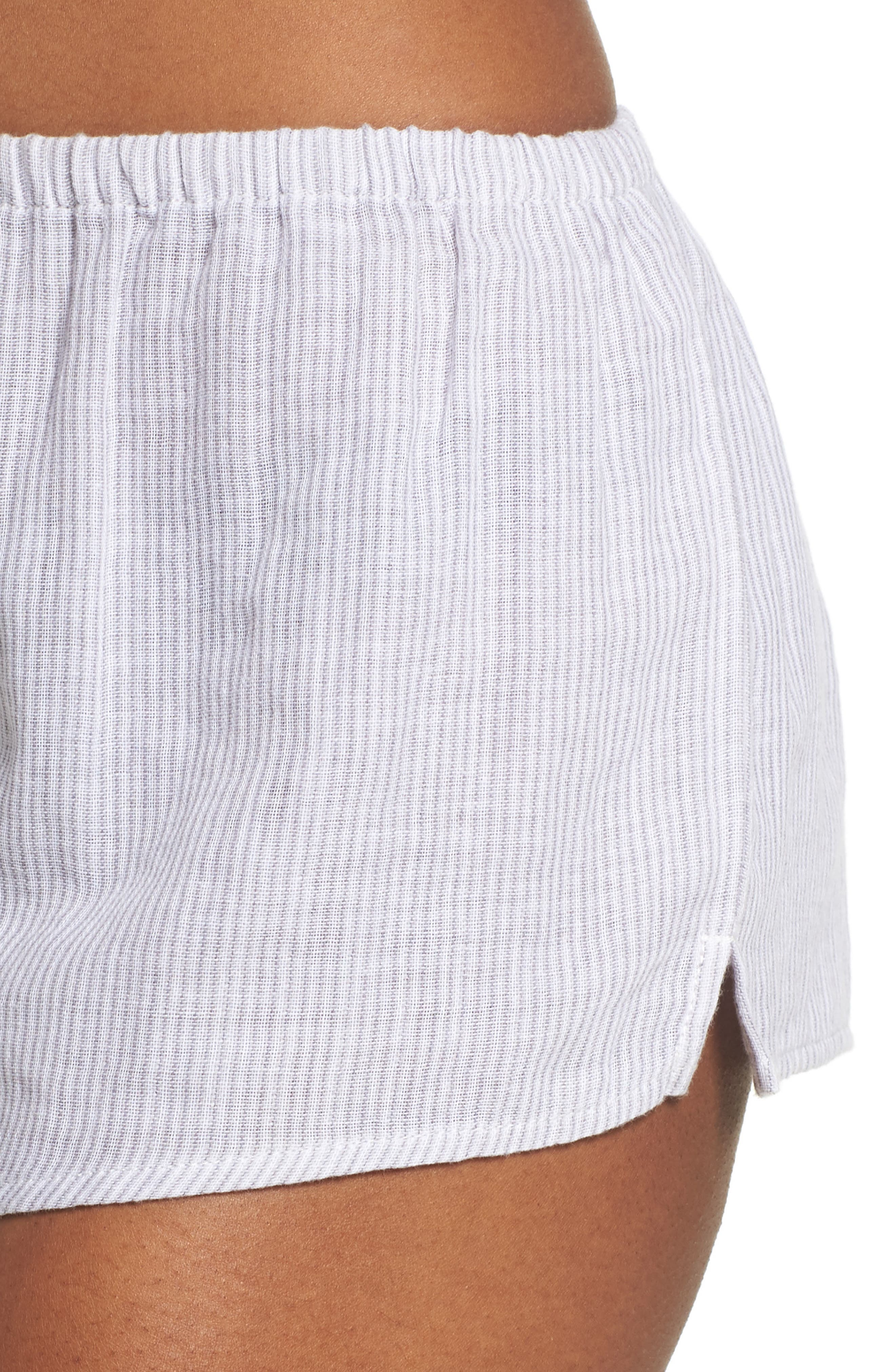 Stripe Pajama Shorts,                             Alternate thumbnail 6, color,                             Grey/ White