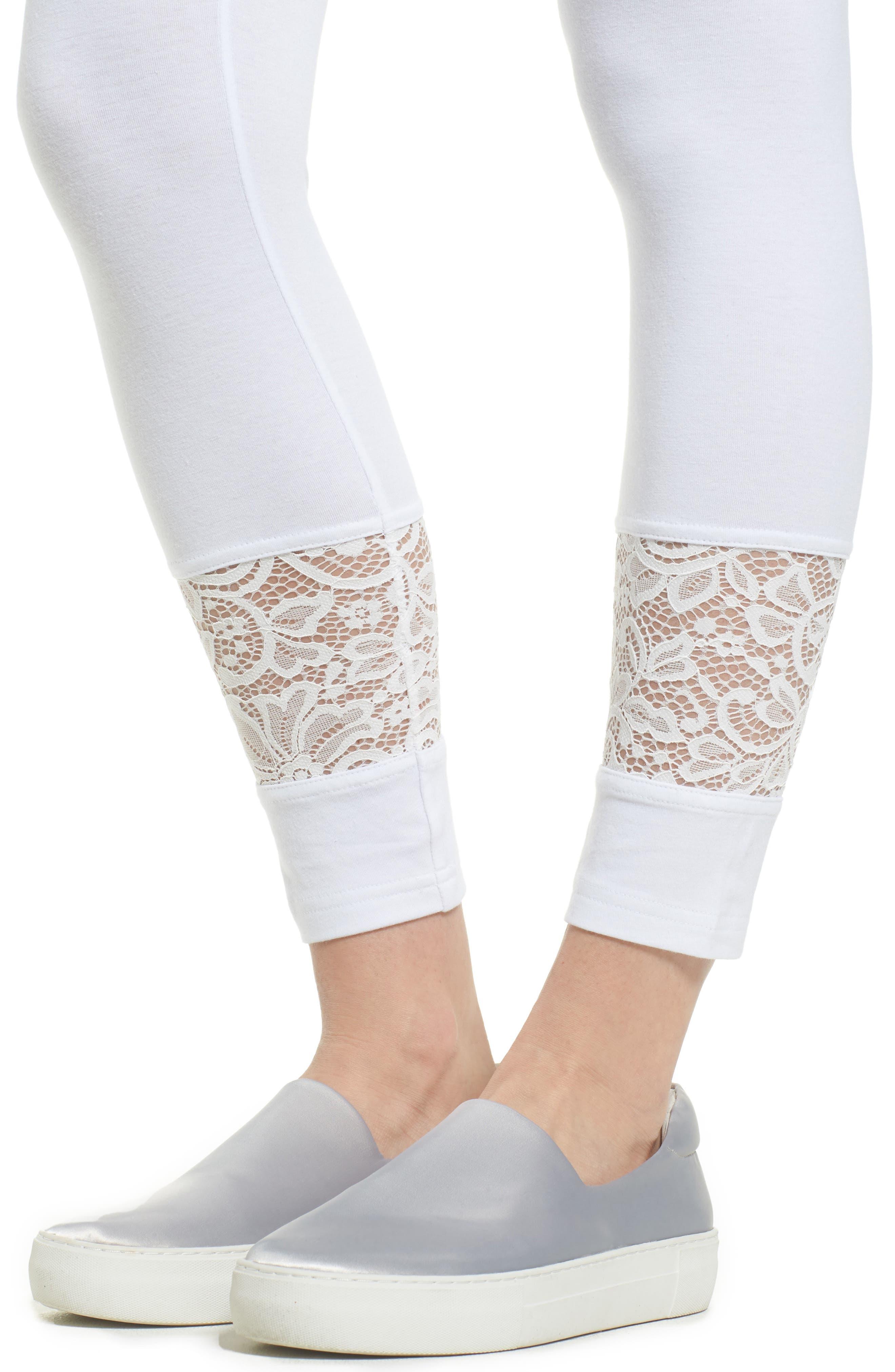 Lace Block Skimmer Leggings,                             Alternate thumbnail 4, color,                             White