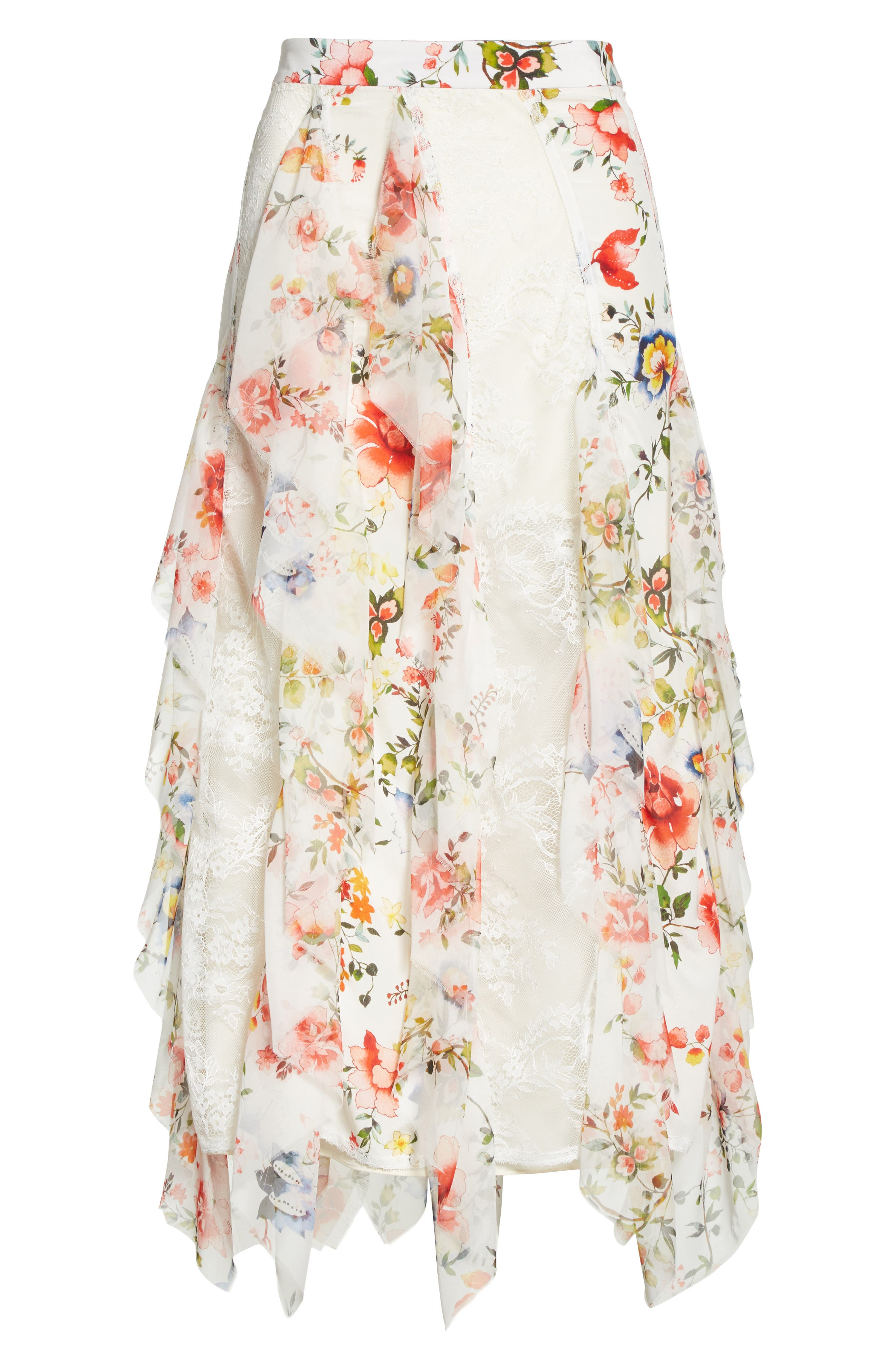 Yula Floral Silk & Lace Midi Skirt,                             Alternate thumbnail 6, color,                             Floral Soiree-Soft White