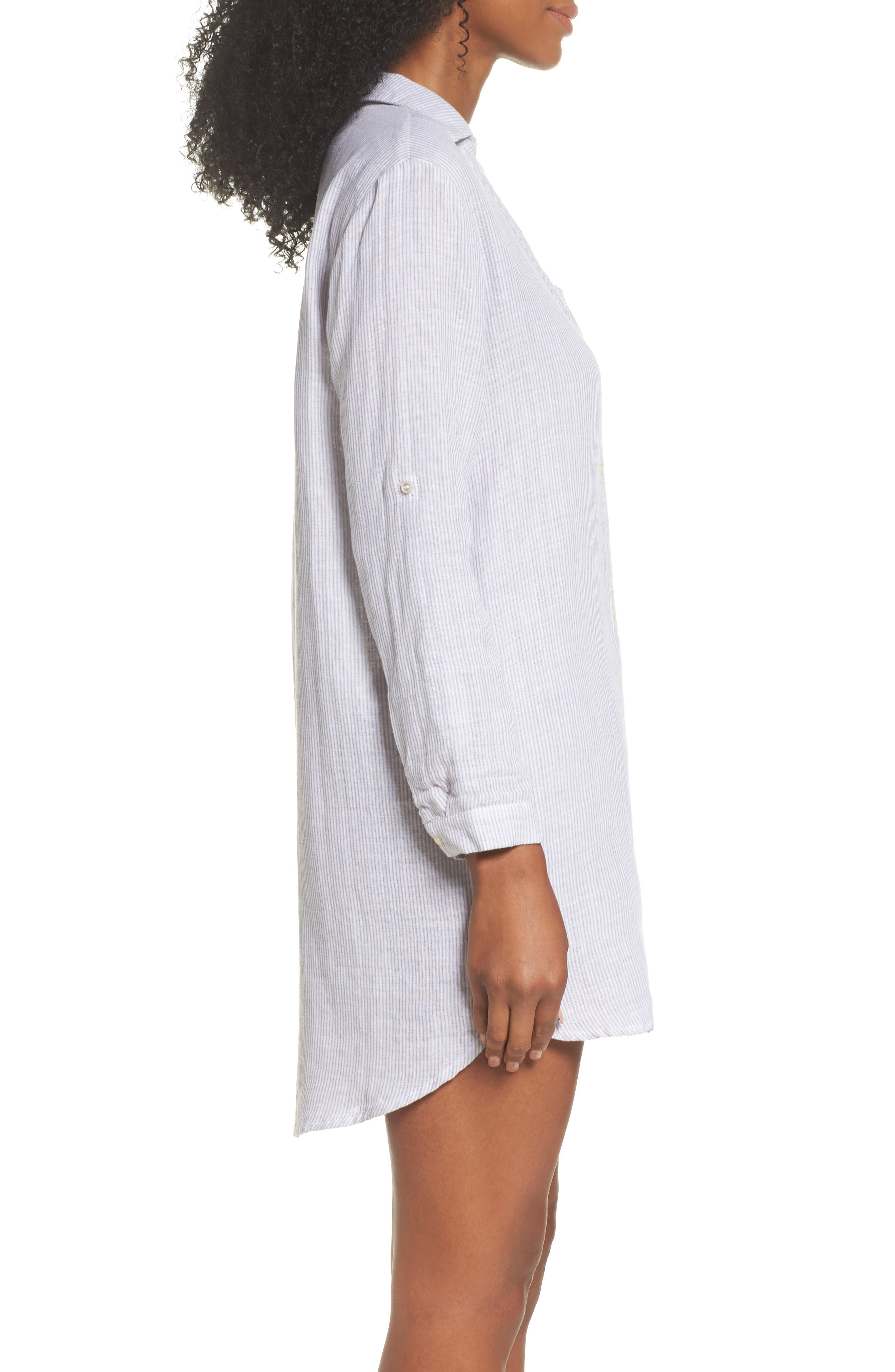 Stripe Sleep Shirt,                             Alternate thumbnail 3, color,                             Grey/ White