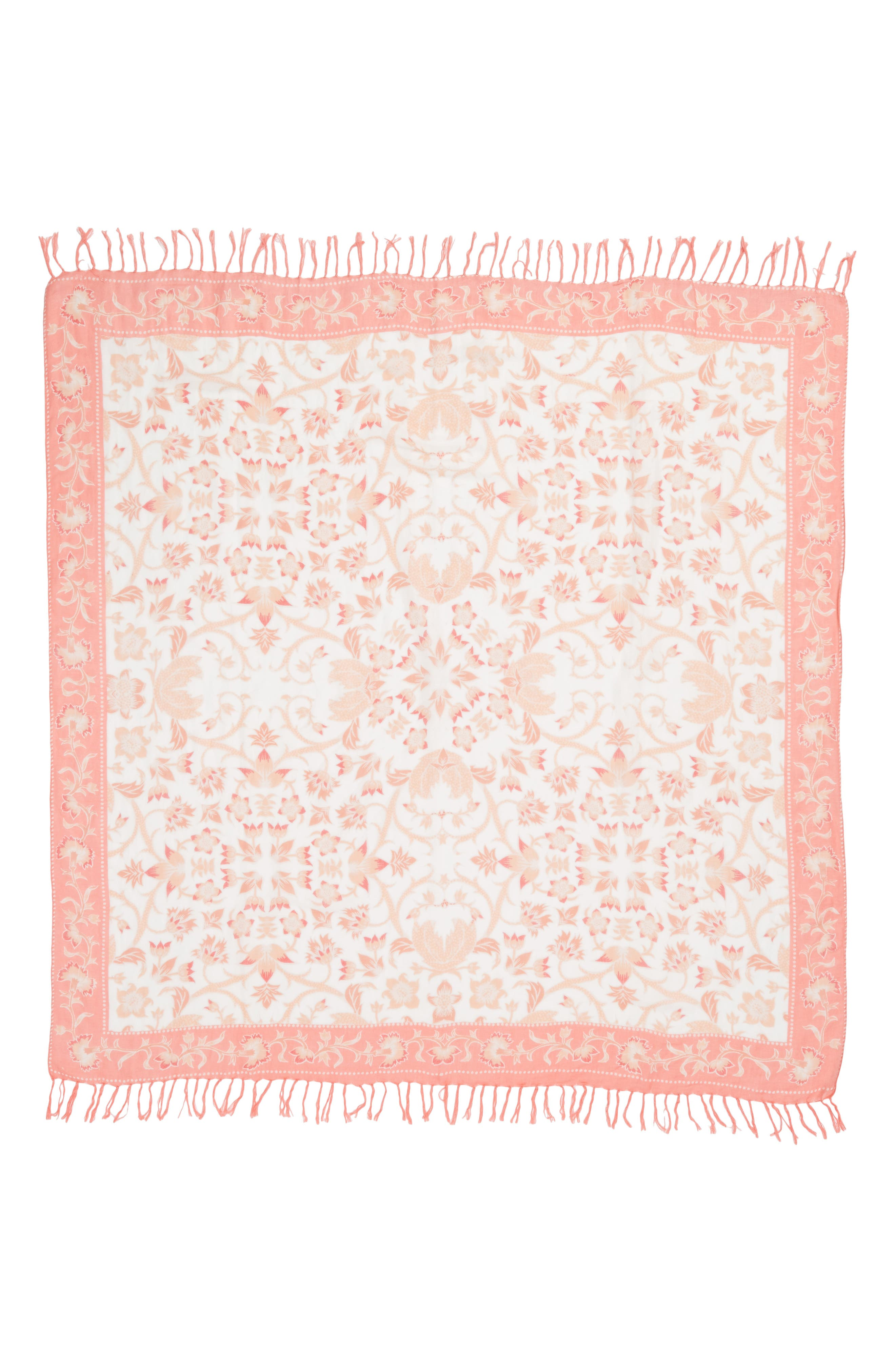 Mixed Print Scarf,                             Alternate thumbnail 3, color,                             Coral Floral Breeze