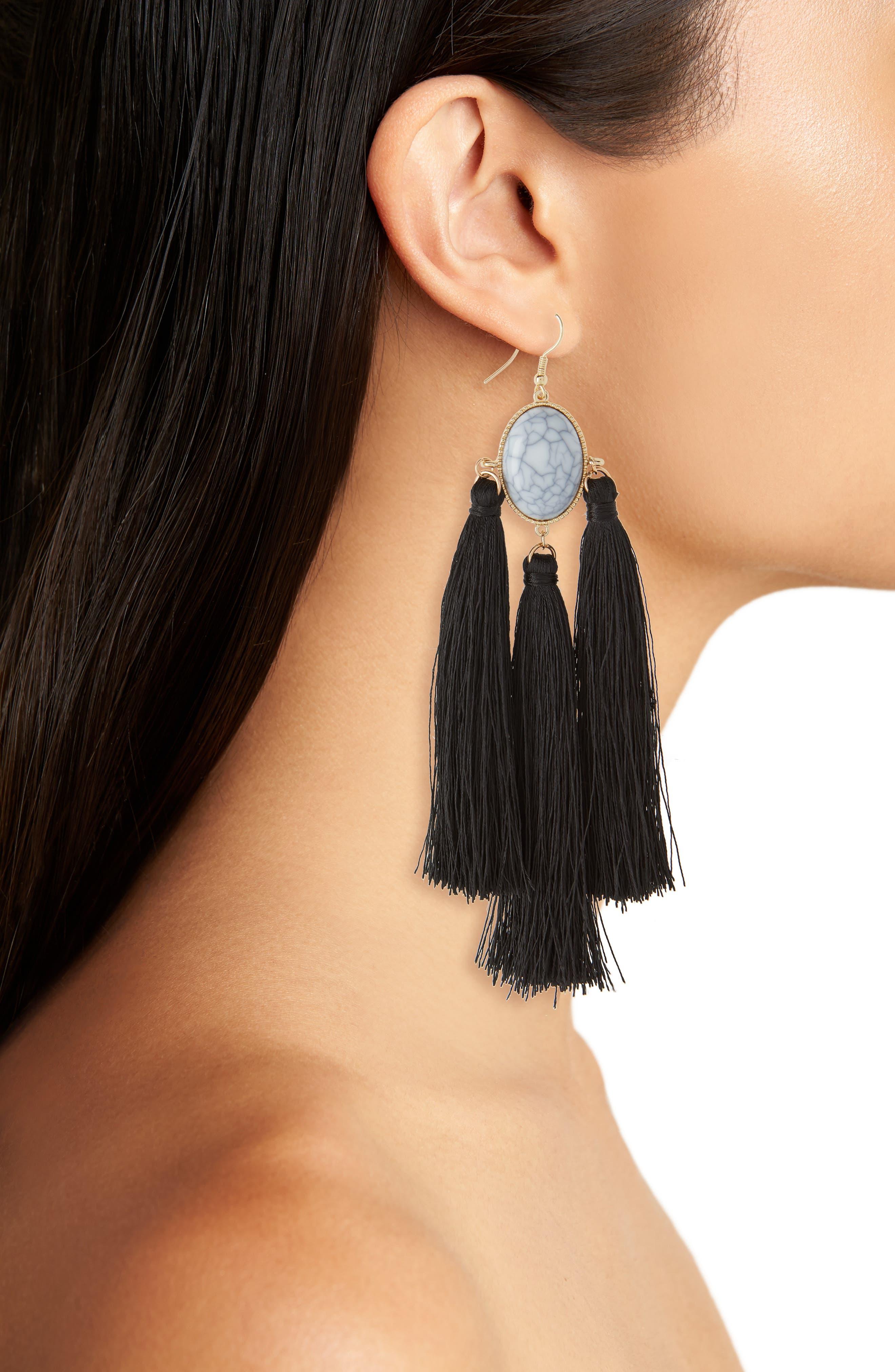 Marbled Bead & Tassel Earrings,                             Alternate thumbnail 2, color,                             Marble/ Black