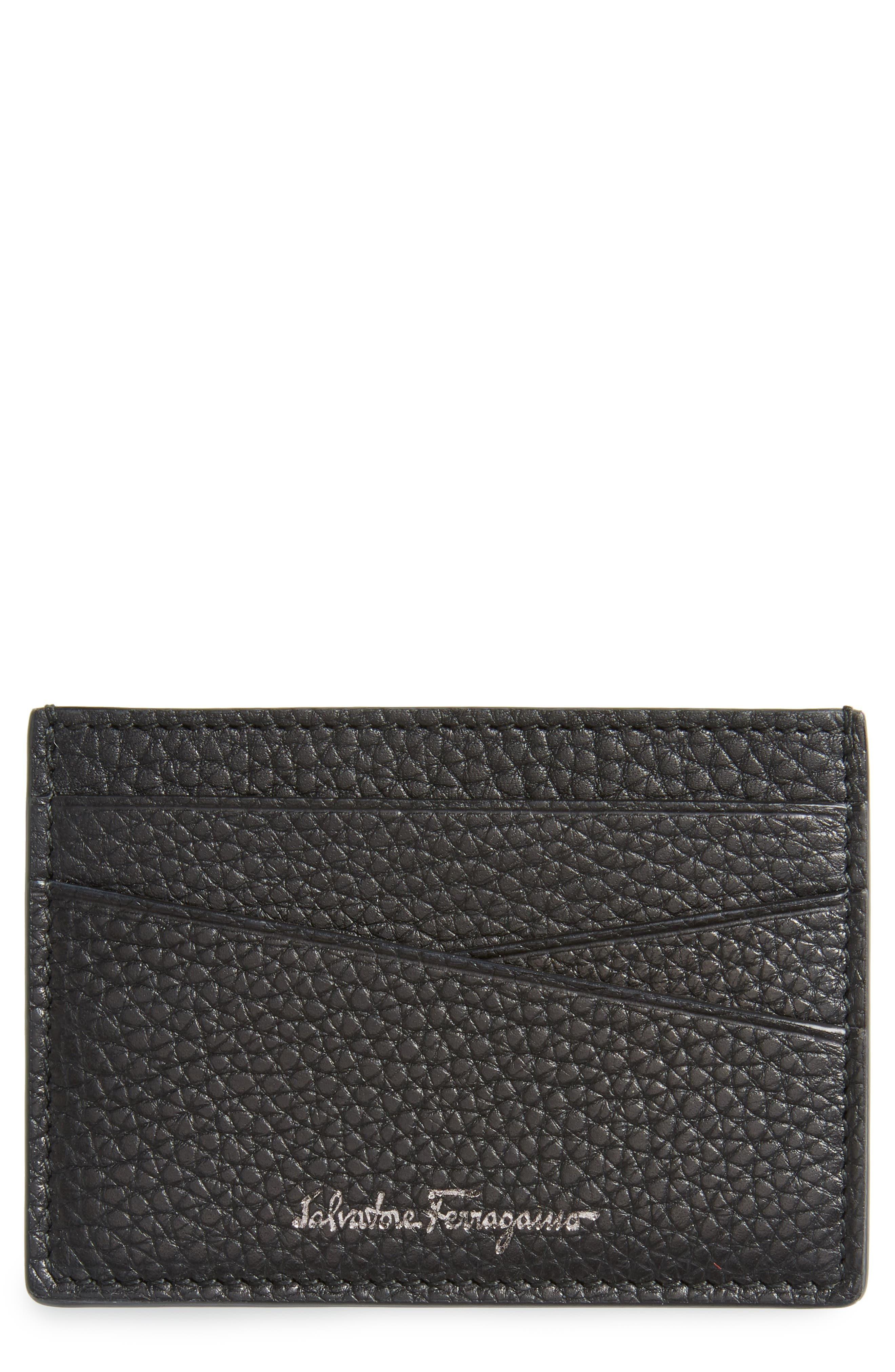Firenze Leather Card Case,                             Main thumbnail 1, color,                             Black