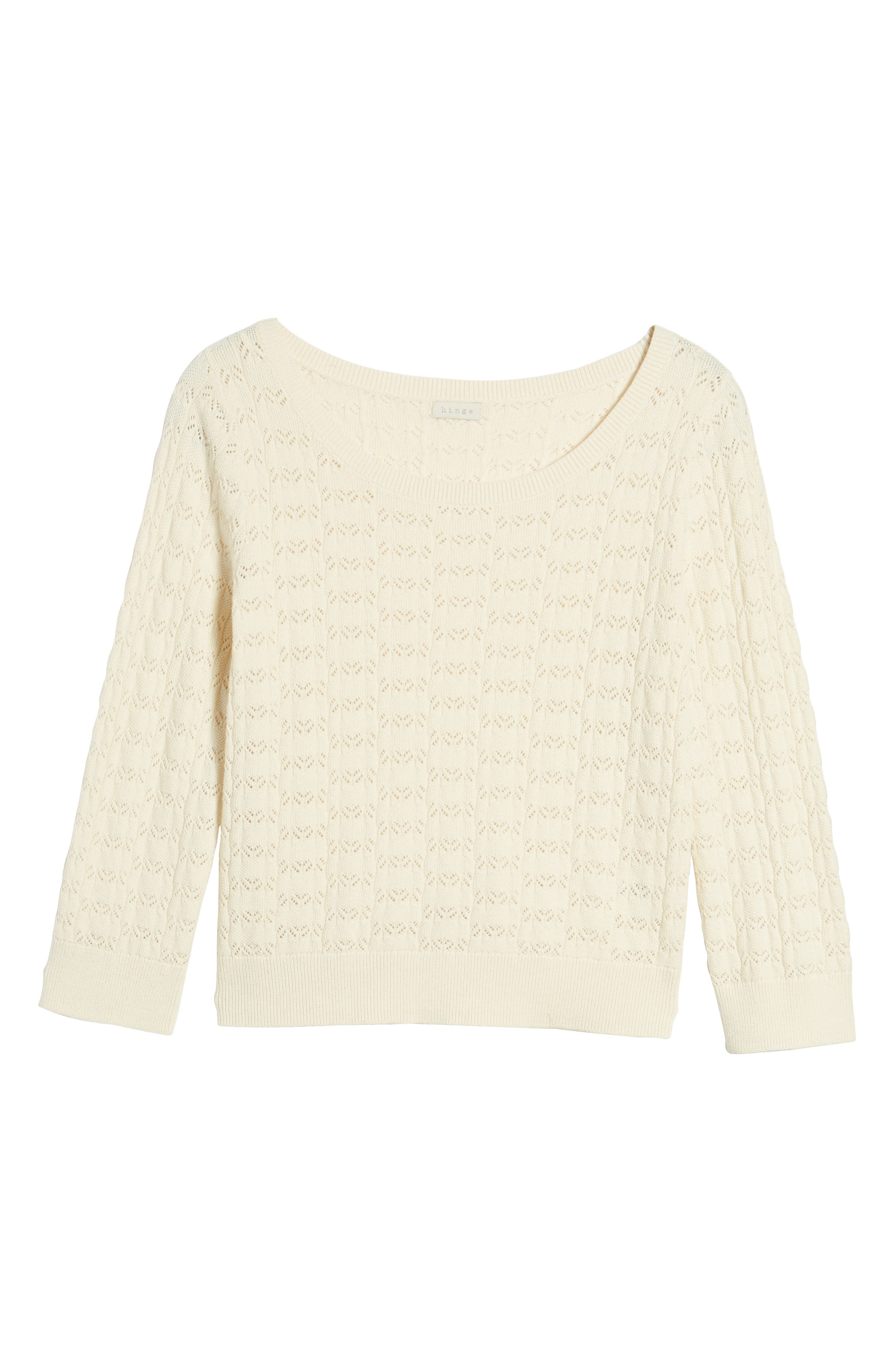 Pointelle Crop Sweater,                             Alternate thumbnail 6, color,                             Ivory Birch