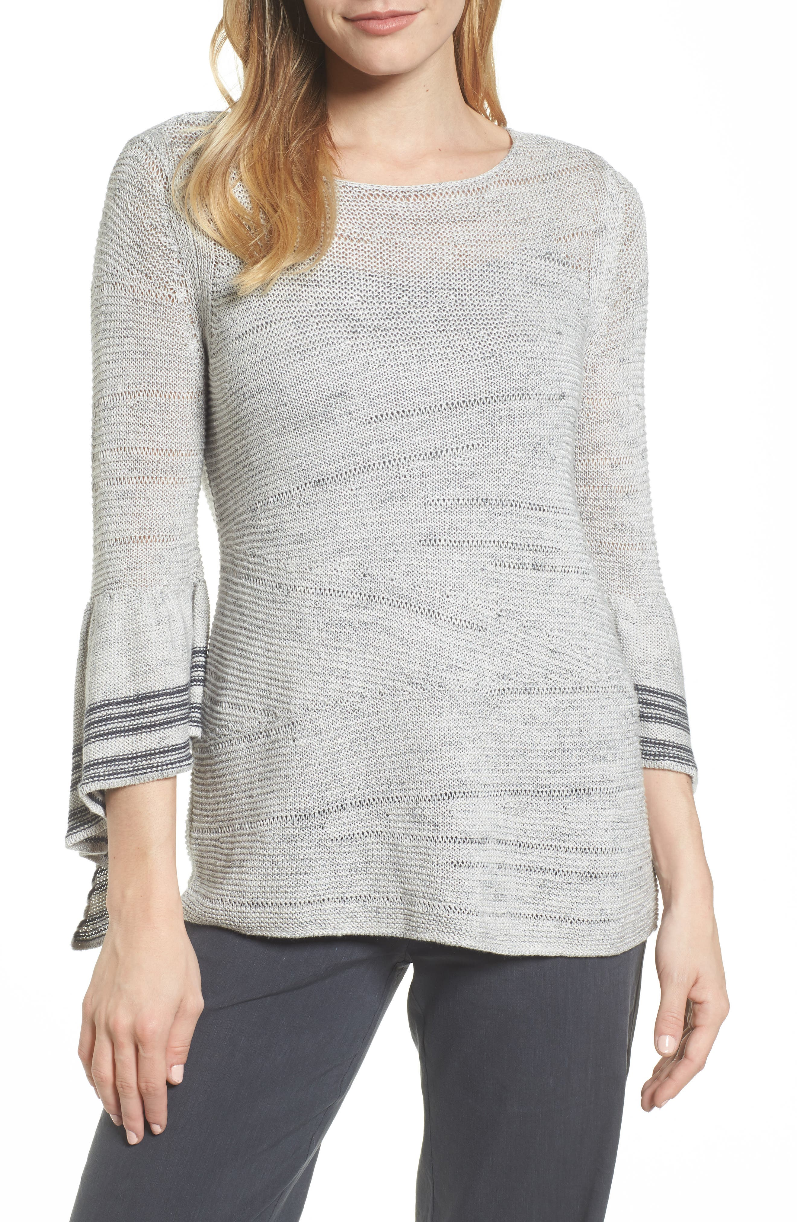 Traveling Stripe Bell Sleeve Top,                             Main thumbnail 1, color,                             Multi
