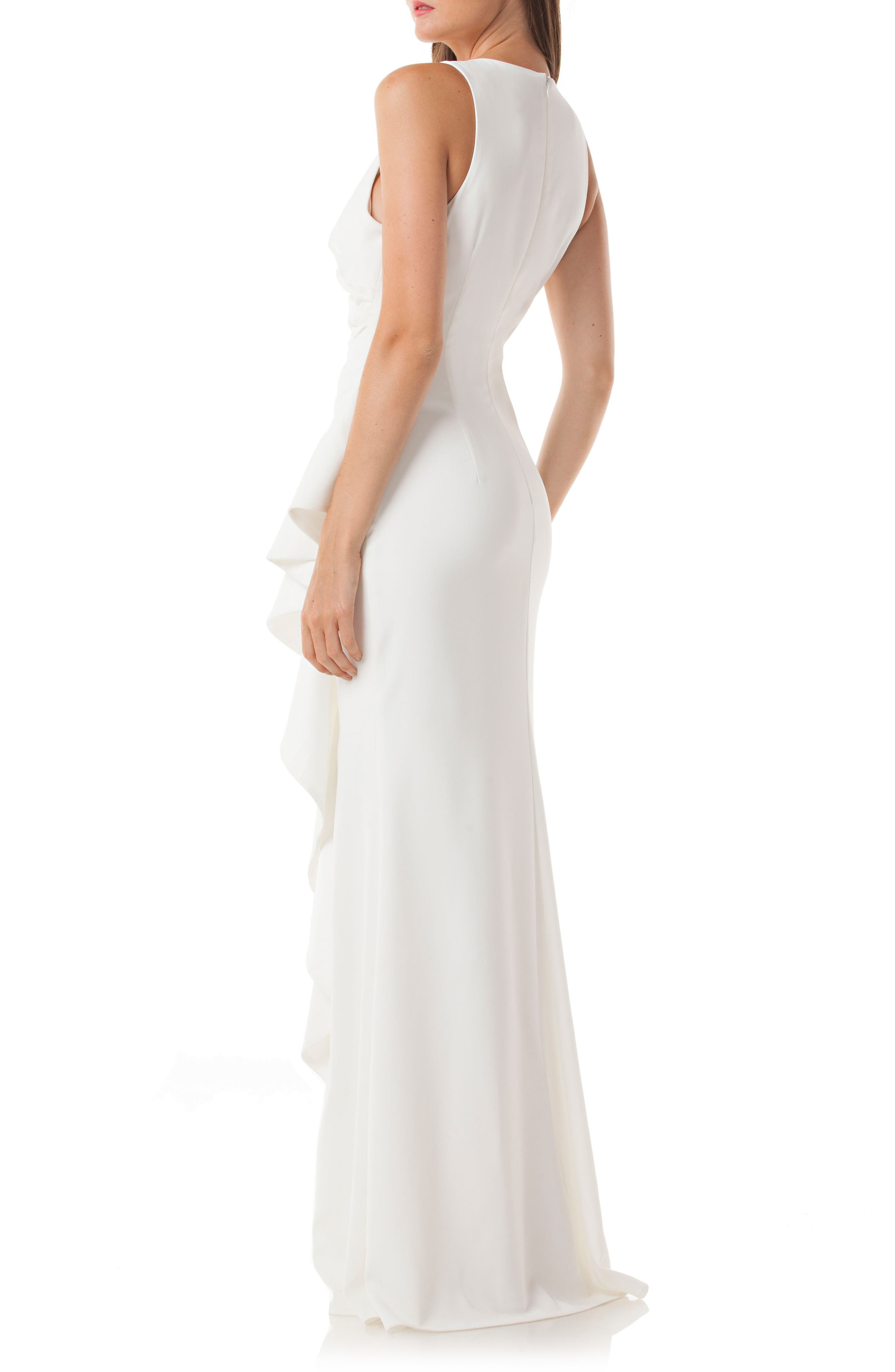 Cutaway Cascade Gown,                             Alternate thumbnail 2, color,                             Ivory