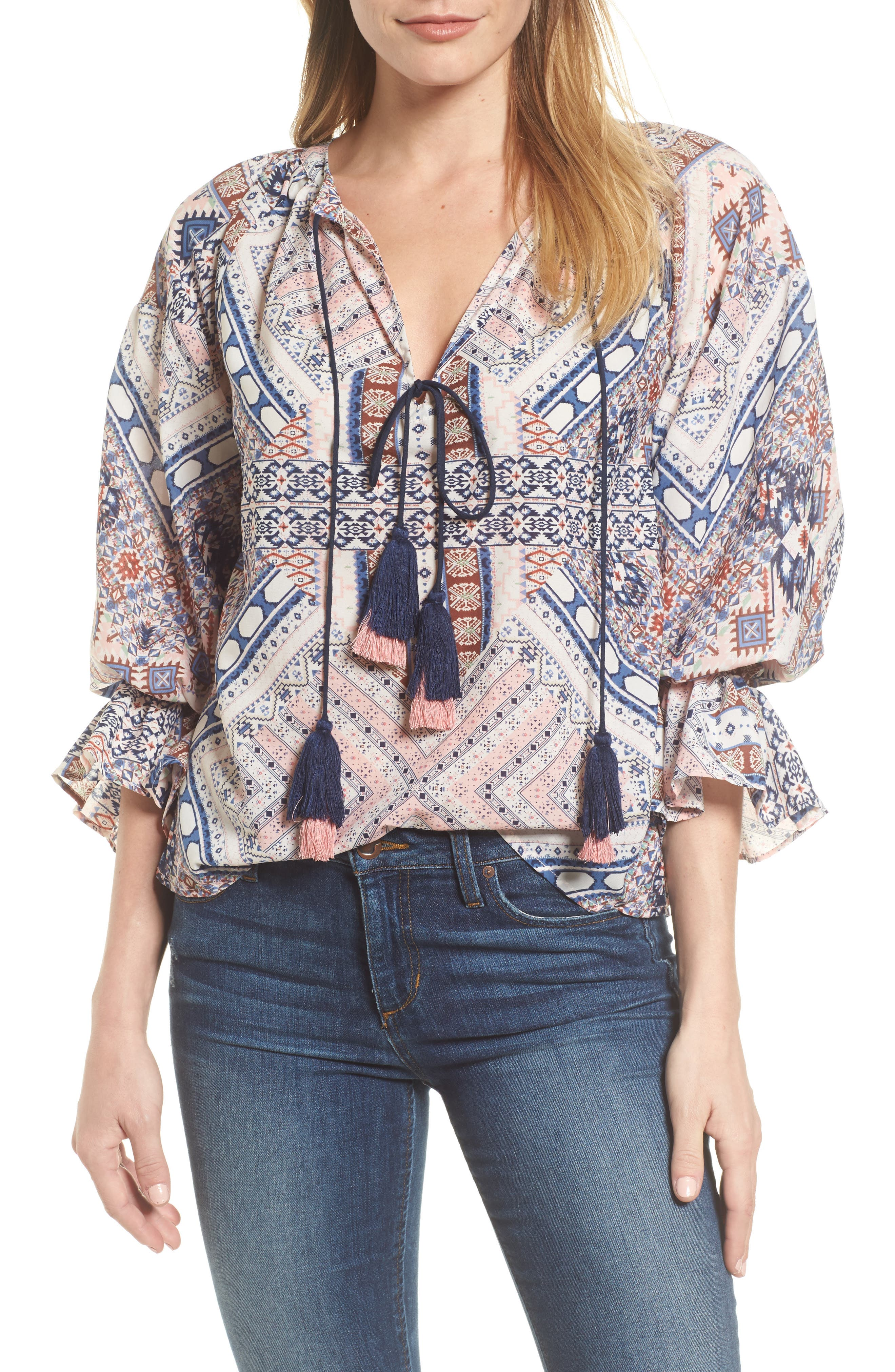 Belfast Ikat Peasant Blouse,                         Main,                         color, Ikat Print