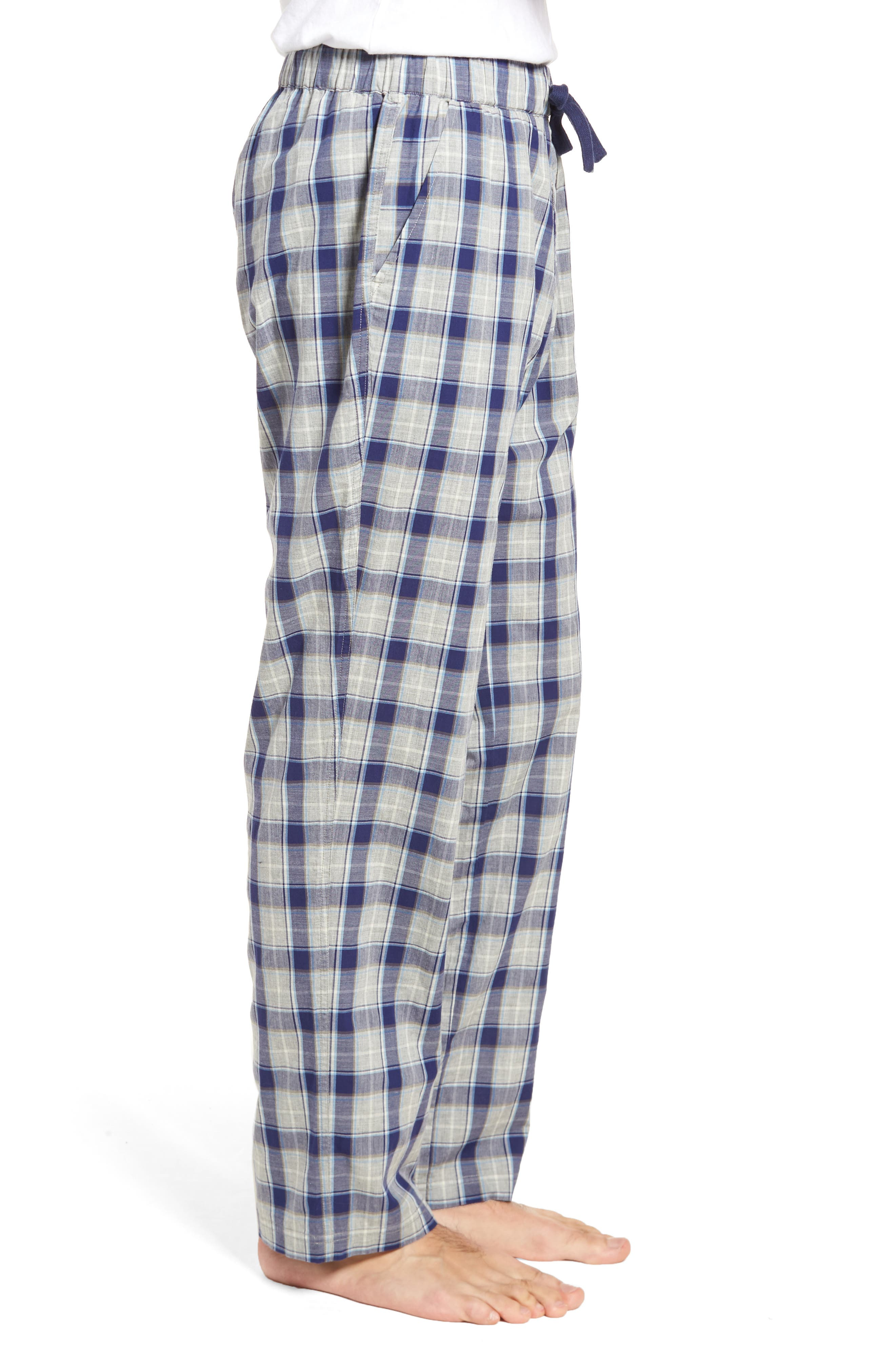 Flynn Plaid Cotton Lounge Pants,                             Alternate thumbnail 3, color,                             Navy