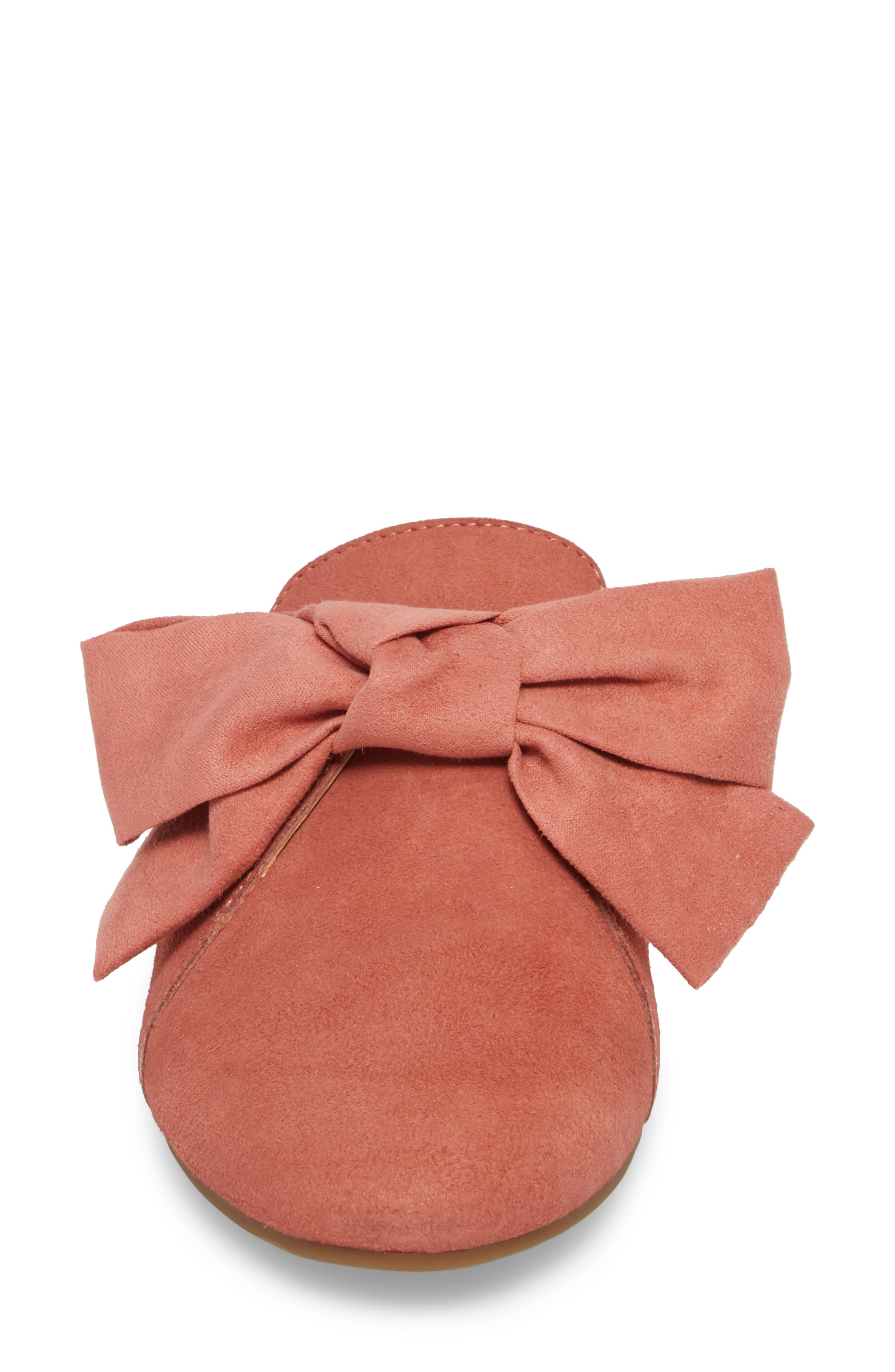 Florean Bow Loafer Mule,                             Alternate thumbnail 4, color,                             Canyon Rose Leather