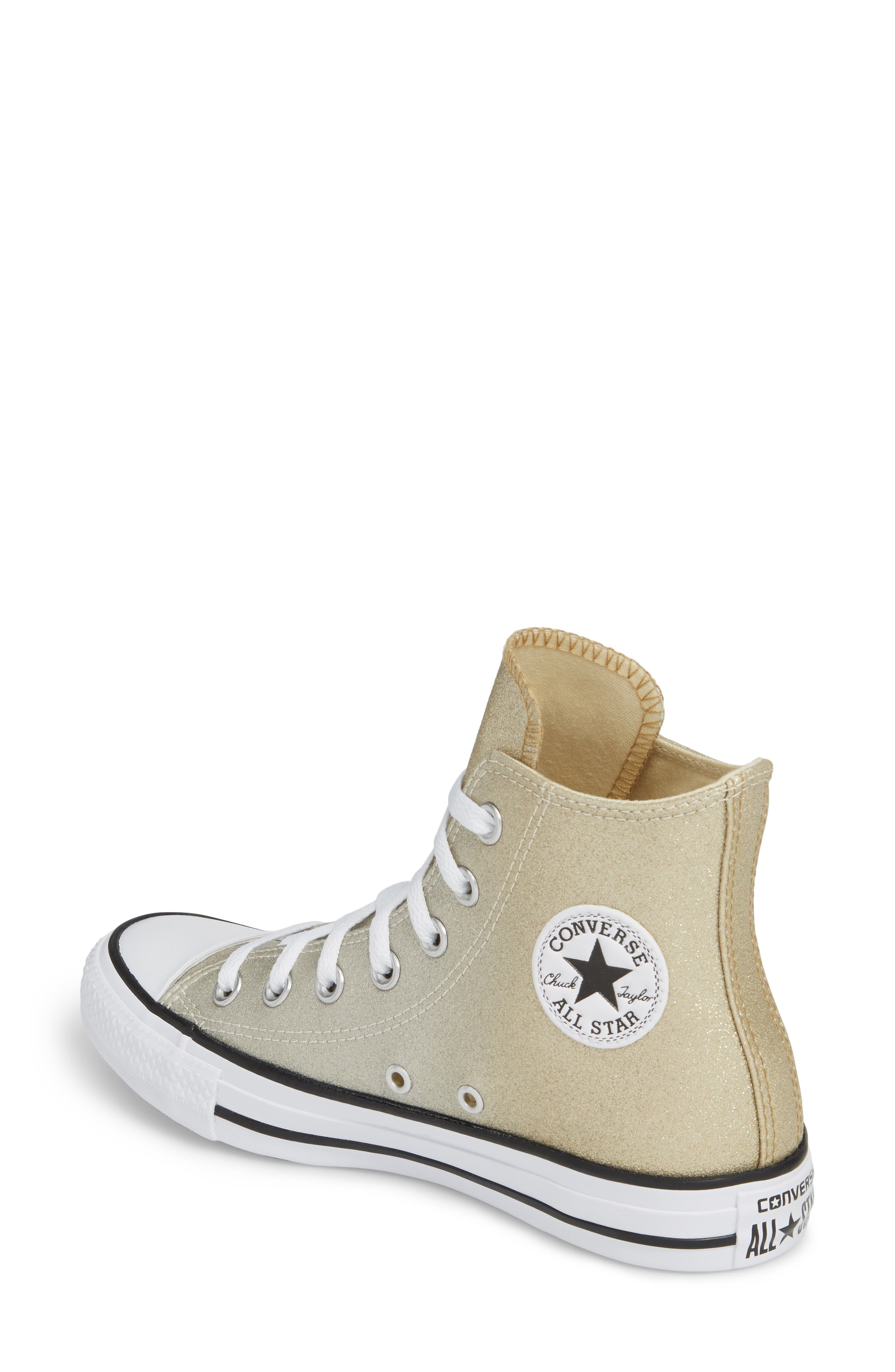 Chuck Taylor<sup>®</sup> All Star<sup>®</sup> Ombré Metallic High Top Sneaker,                             Alternate thumbnail 2, color,                             Light Gold