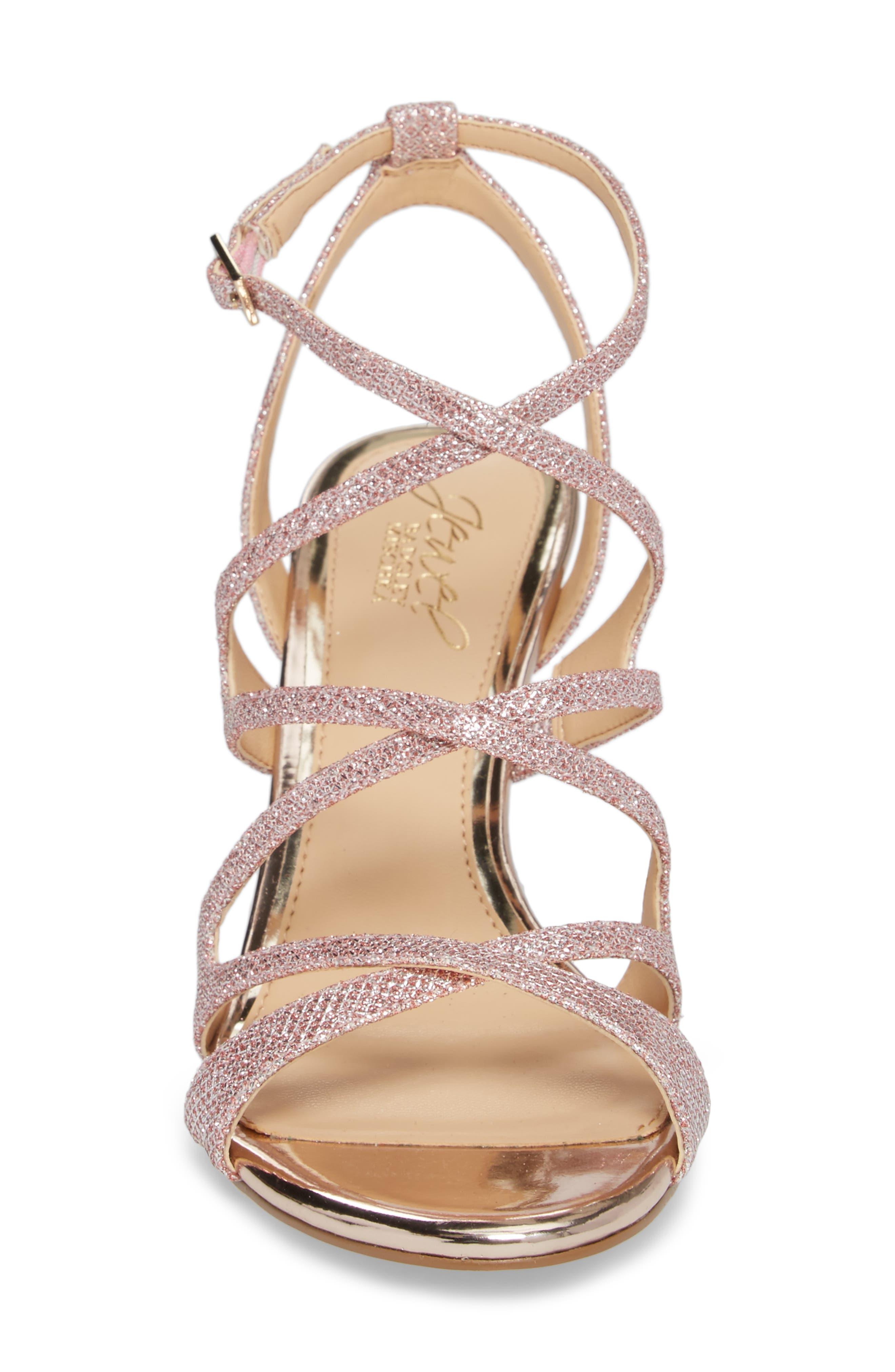 Tasha Glitter Sandal,                             Alternate thumbnail 4, color,                             Rose Gold Glitter