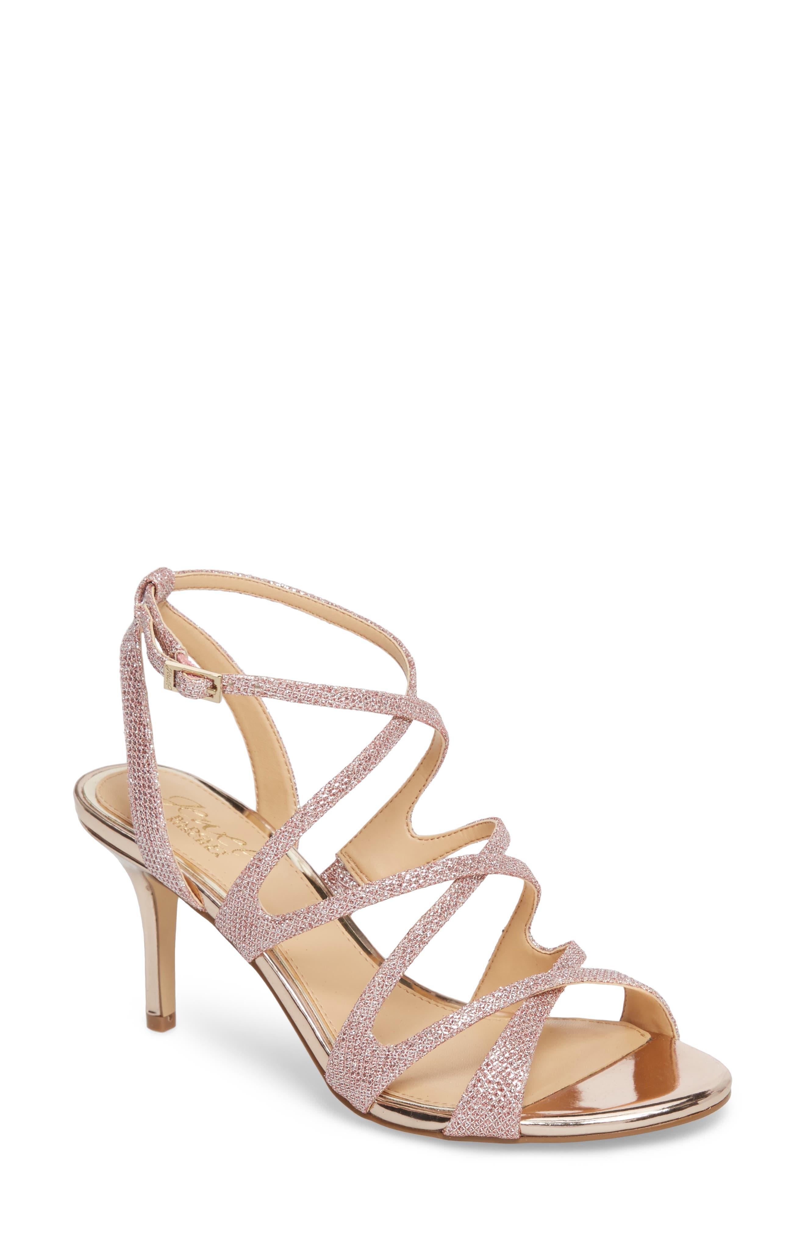 Tasha Glitter Sandal,                             Main thumbnail 1, color,                             Rose Gold Glitter